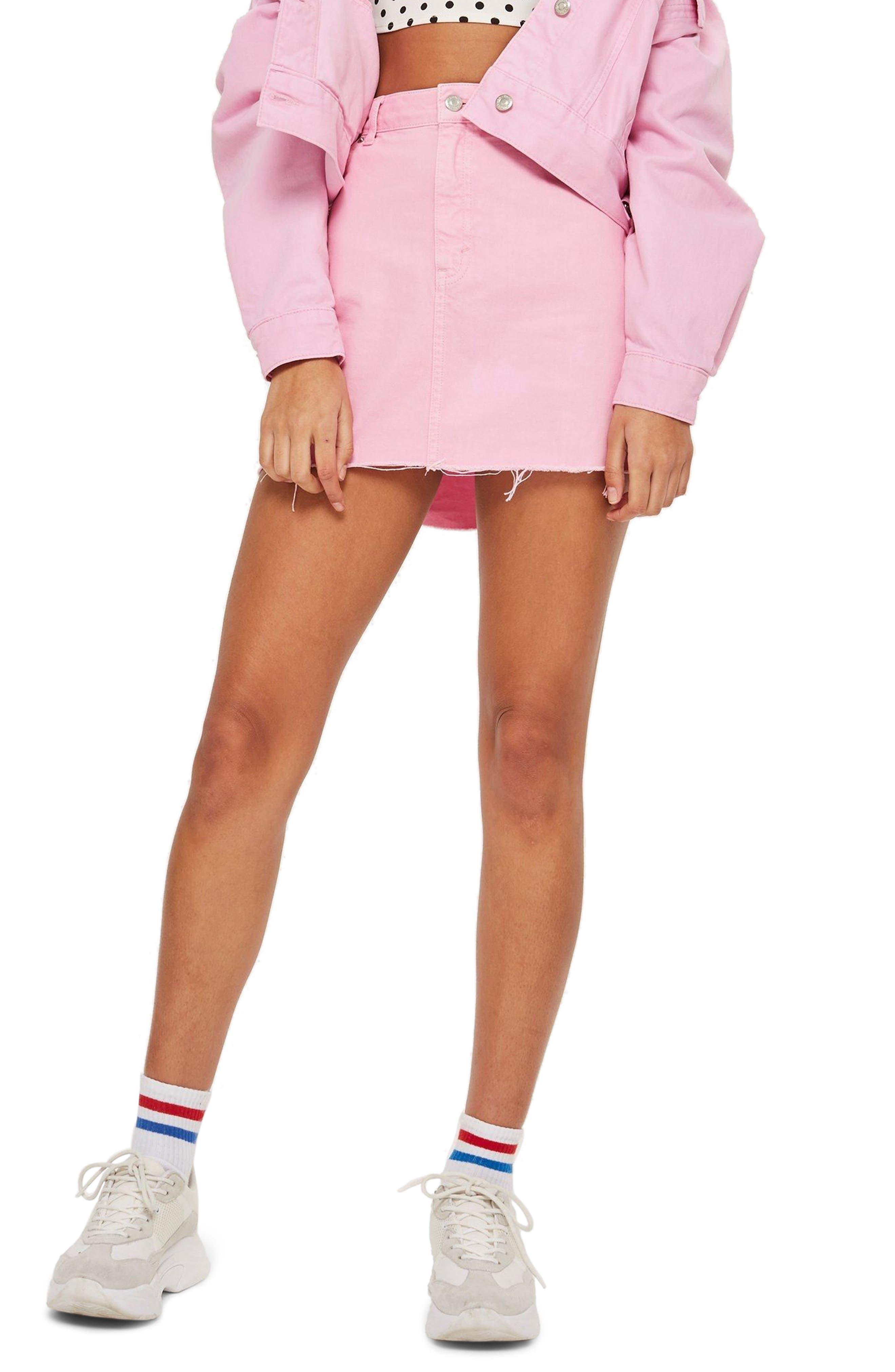 MOTO High Waist Denim Skirt,                         Main,                         color, BUBBLEGUM