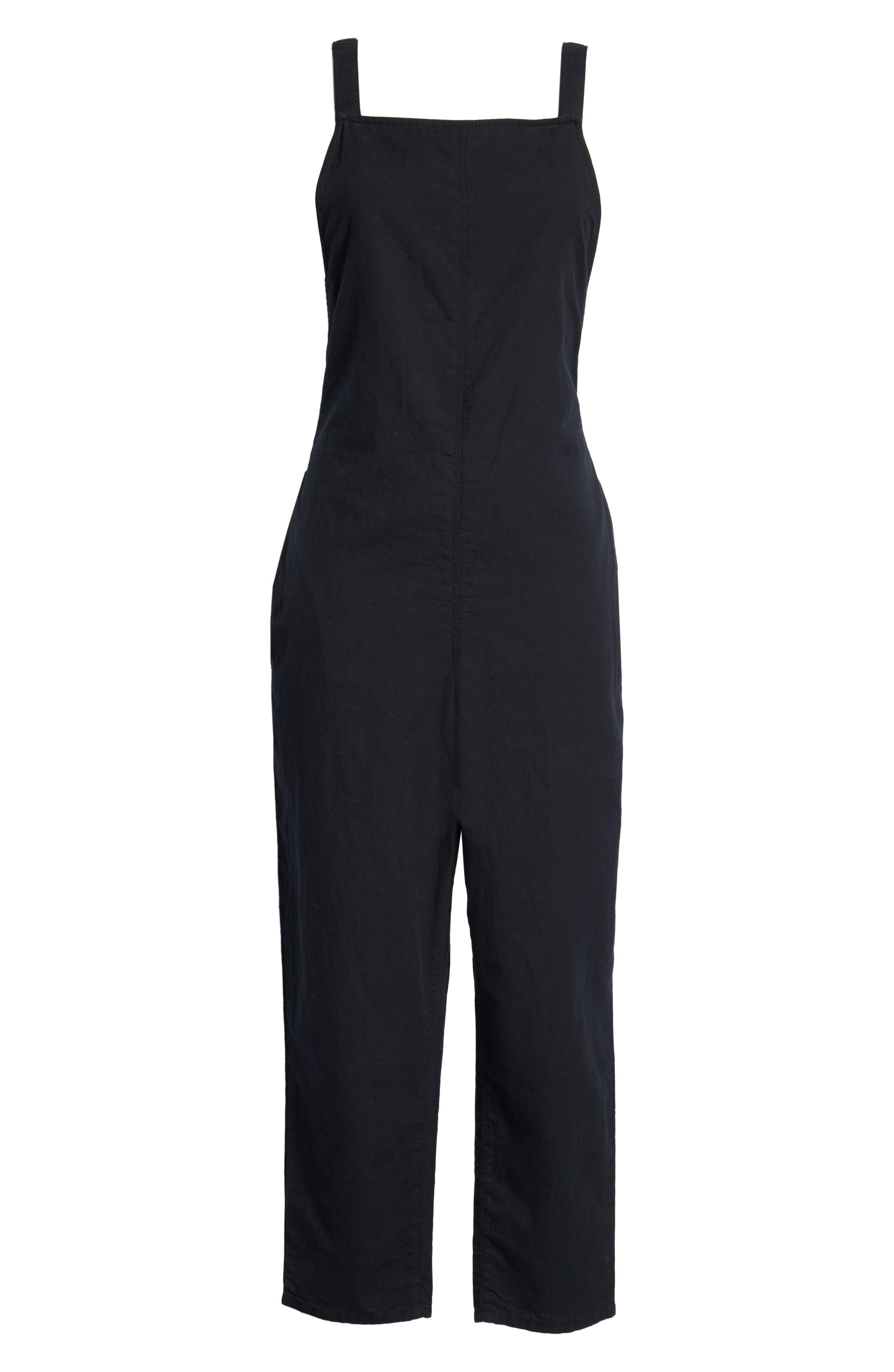 Darcy Tie Back Jumpsuit,                             Alternate thumbnail 7, color,                             TRUE BLACK