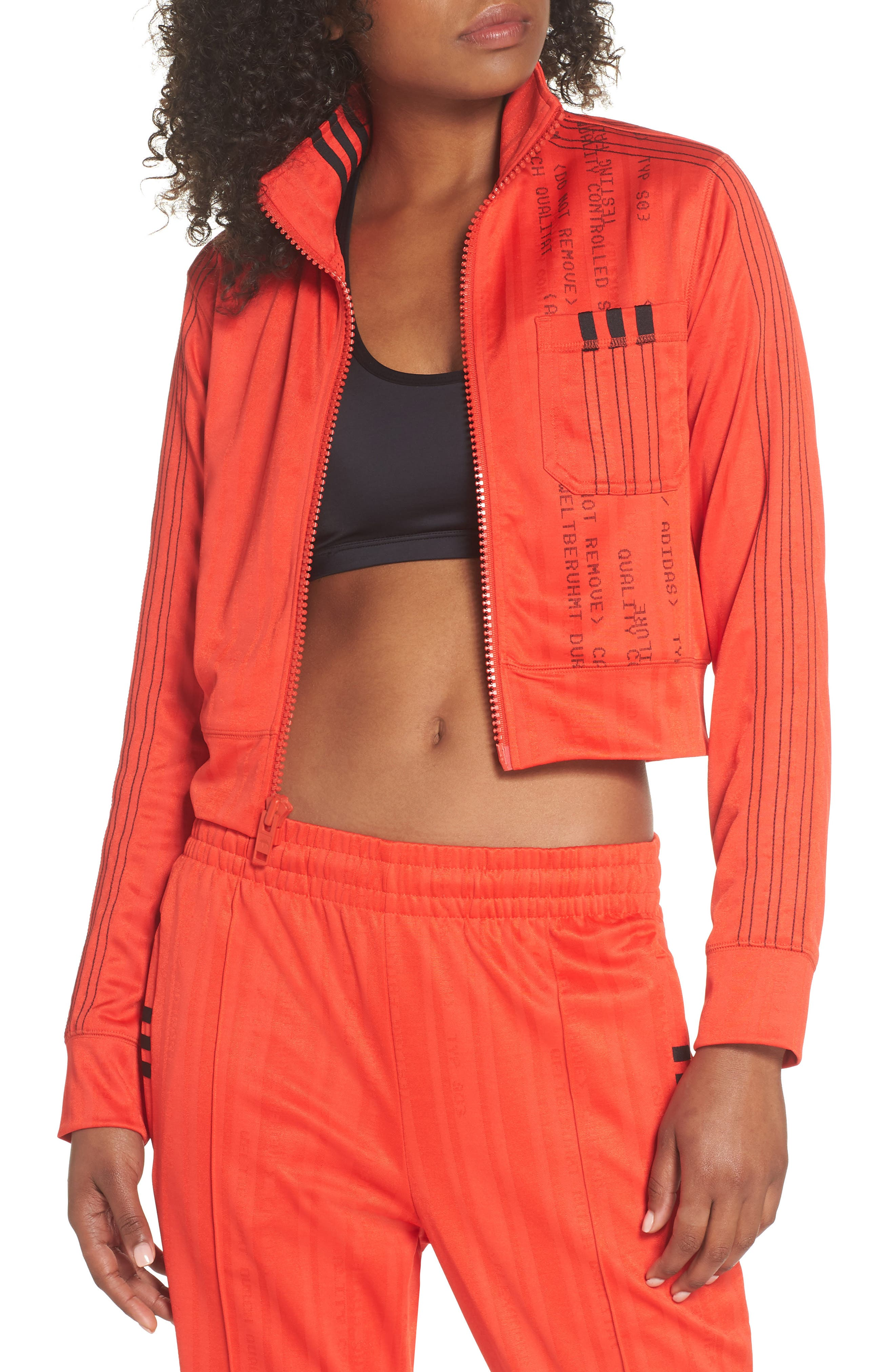 Crop Track Jacket,                         Main,                         color, CORE RED/ BLACK