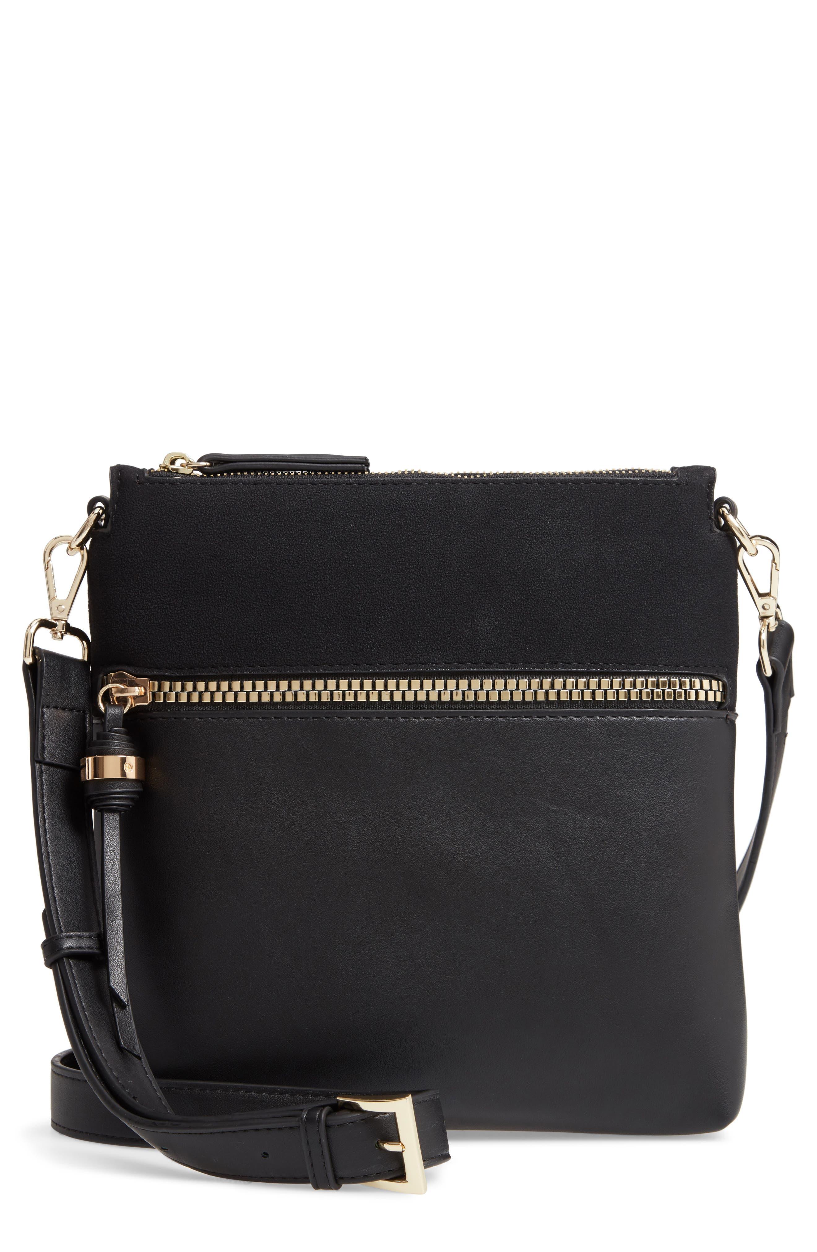 SONDRA ROBERTS Faux Leather Crossbody Bag - Black