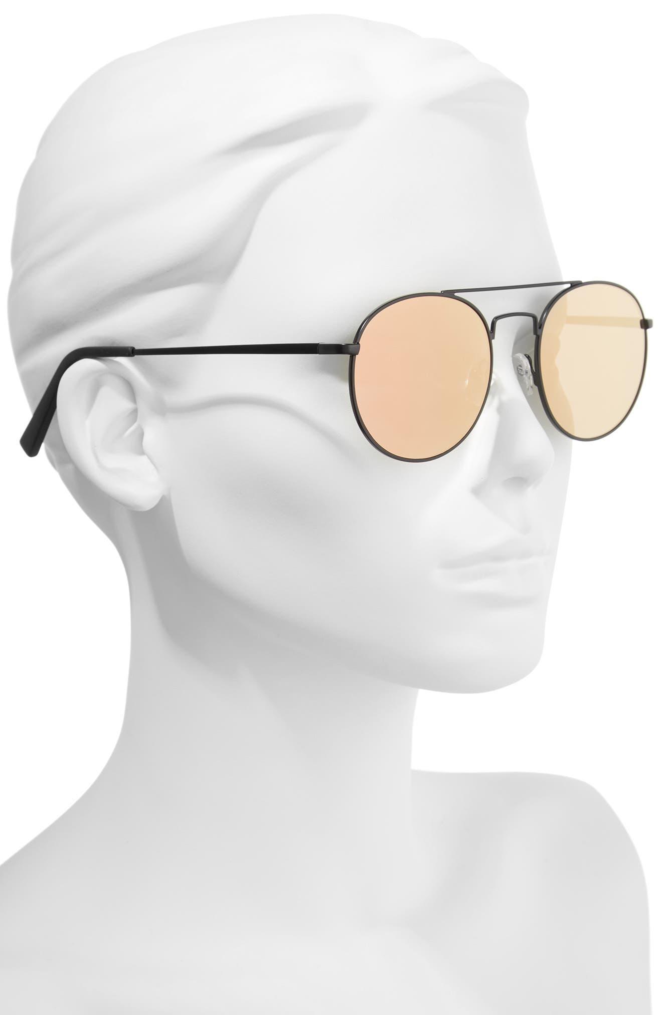 Revolution 53mm Aviator Sunglasses,                             Alternate thumbnail 2, color,                             MATTE BLACK