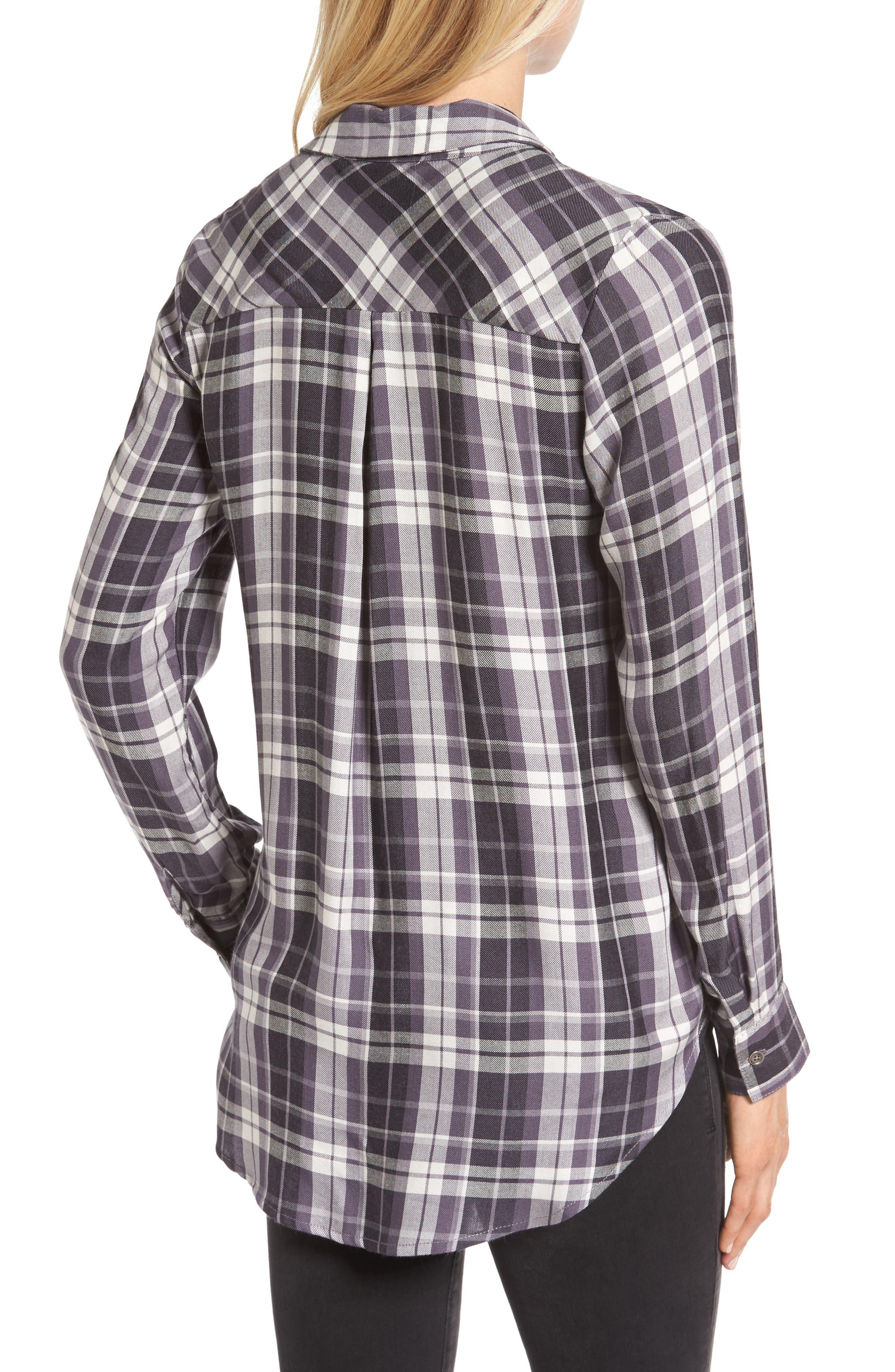 Tie Front Plaid Shirt,                             Alternate thumbnail 2, color,                             021