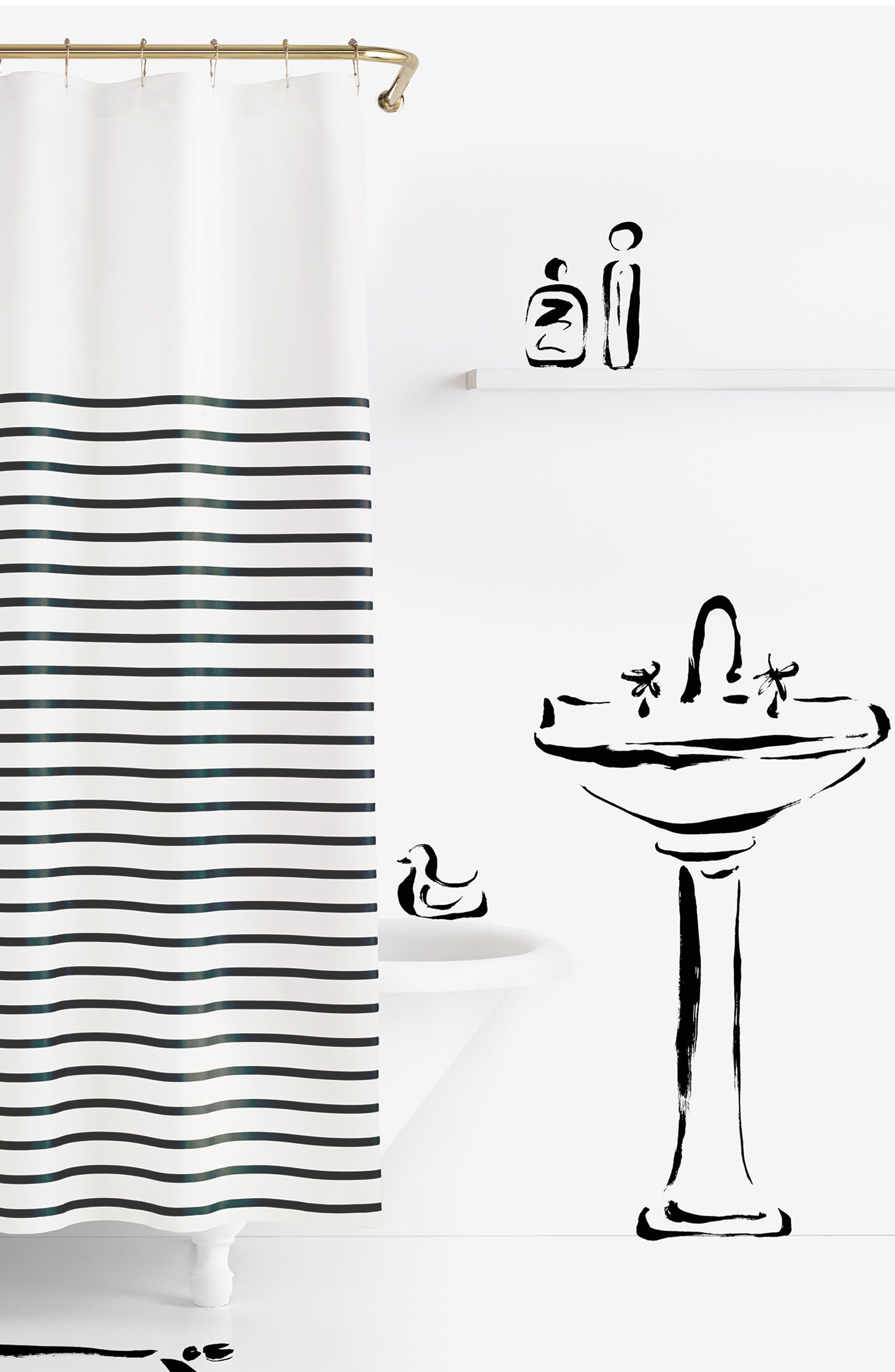 'harbour stripe' shower curtain,                             Main thumbnail 1, color,                             001