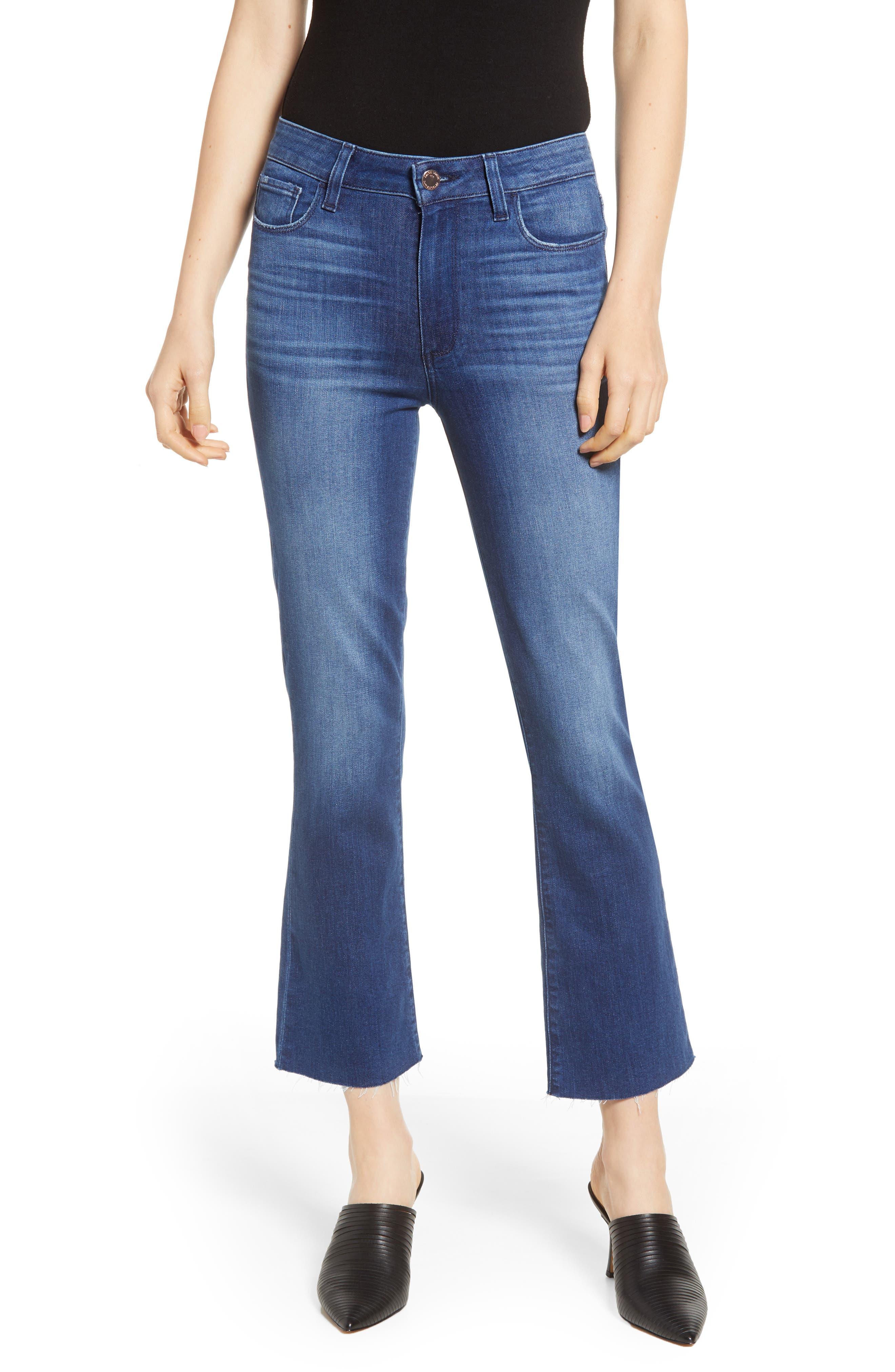 Women's Paige Transcend Vintage - Colette Raw Hem Crop Flare Jeans