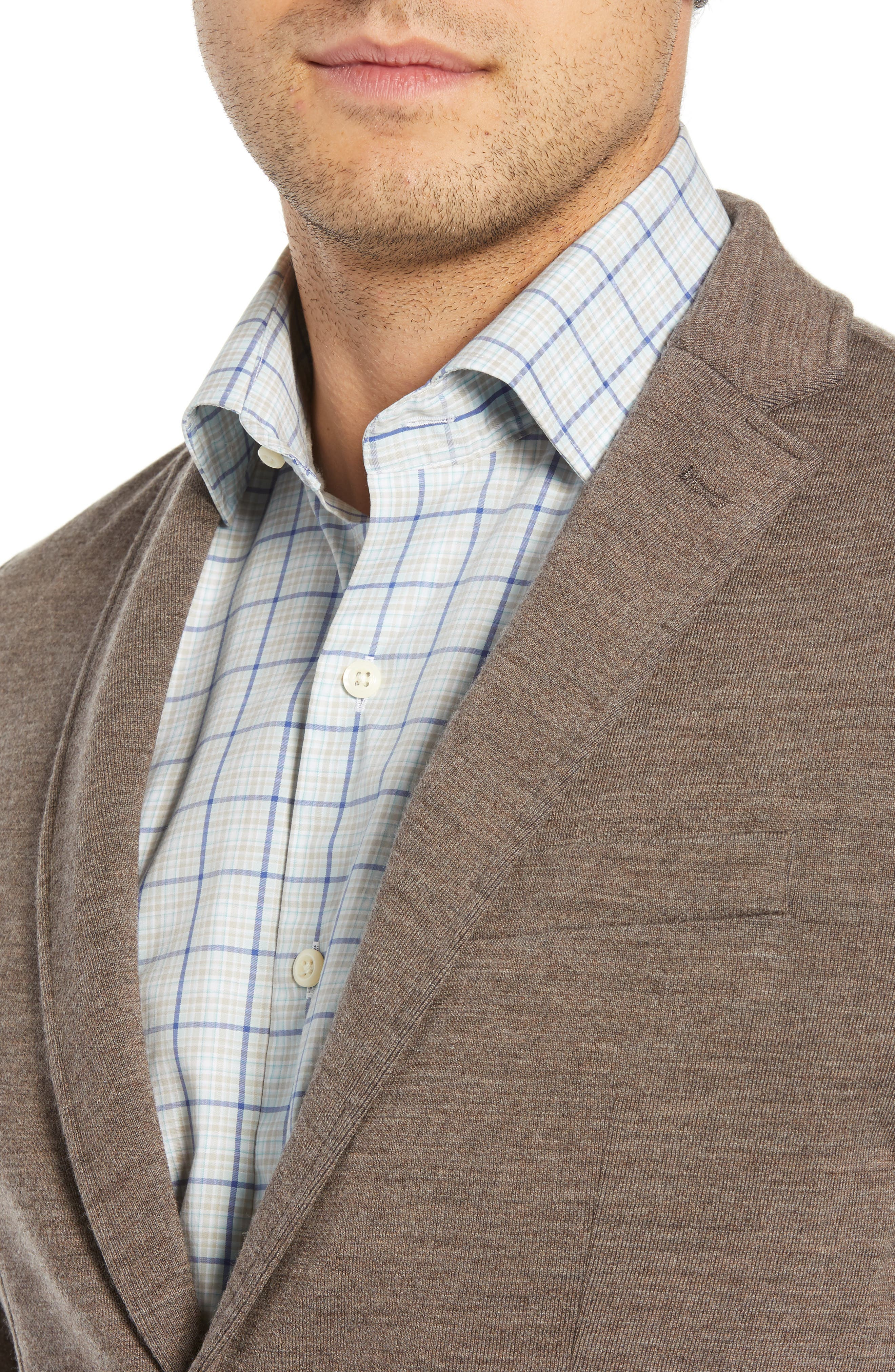 Crown Comfort Knit Blazer,                             Alternate thumbnail 4, color,                             COBBLESTONE