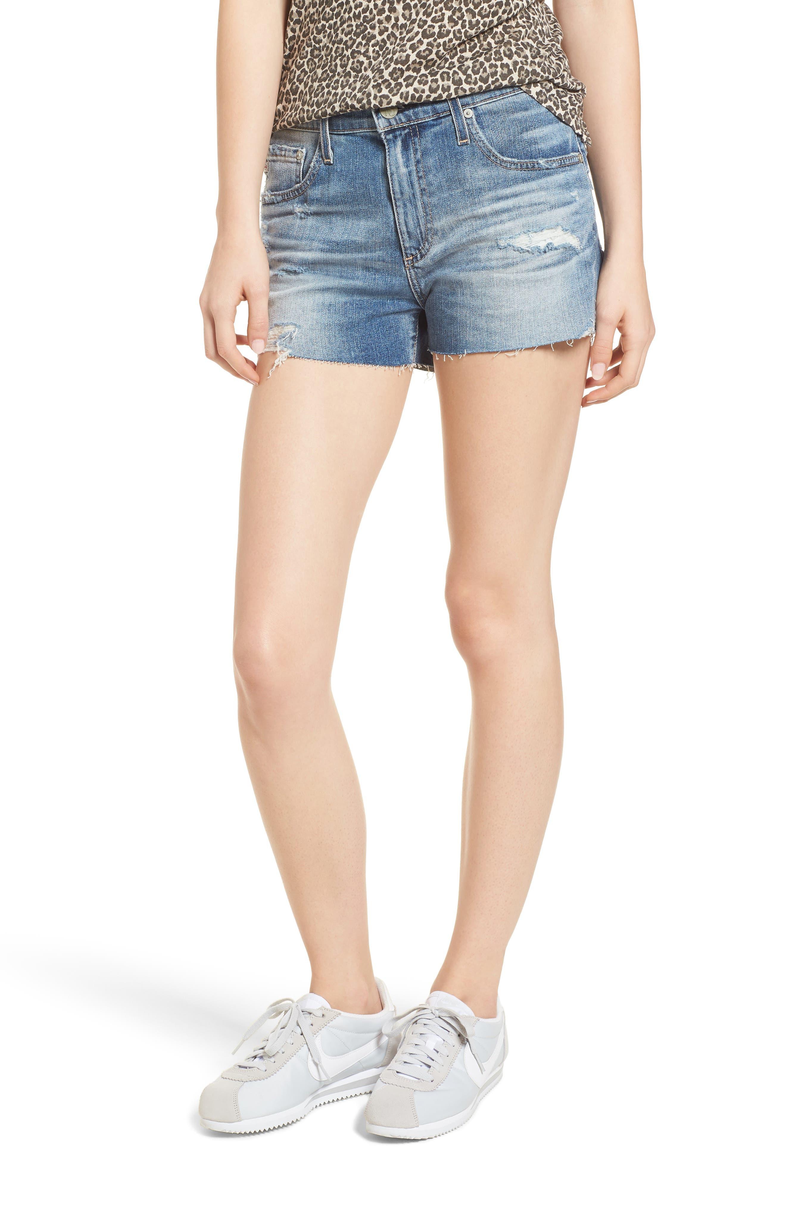 The Bryn High Waist Cutoff Denim Shorts,                         Main,                         color, 467