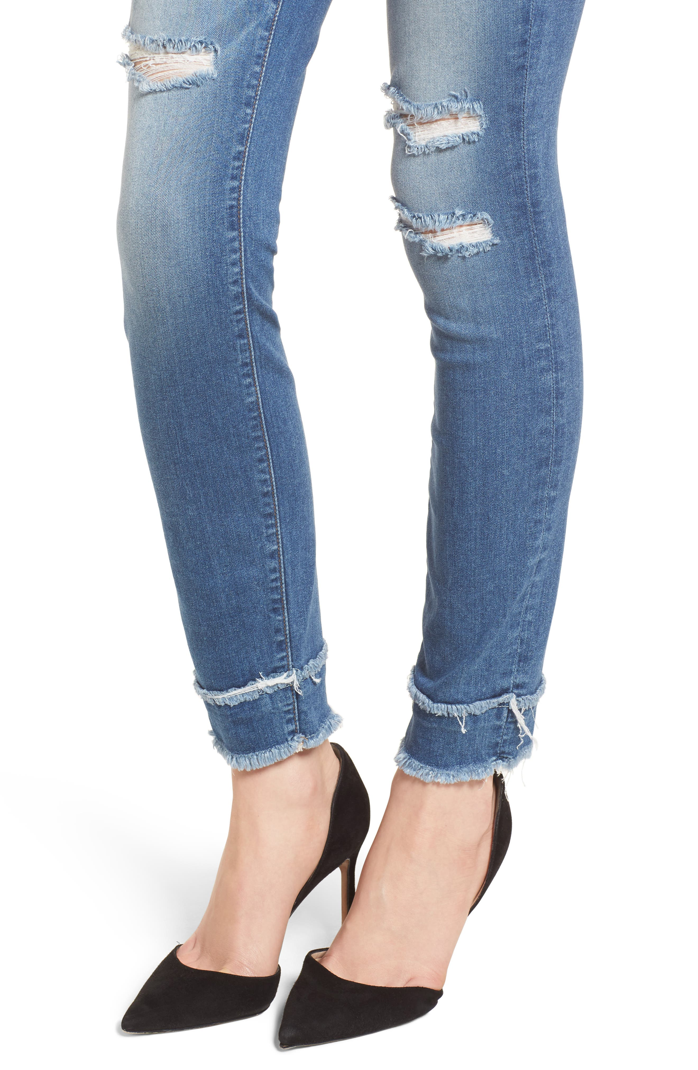 Good Waist High Waist Skinny Jeans,                             Alternate thumbnail 4, color,                             401