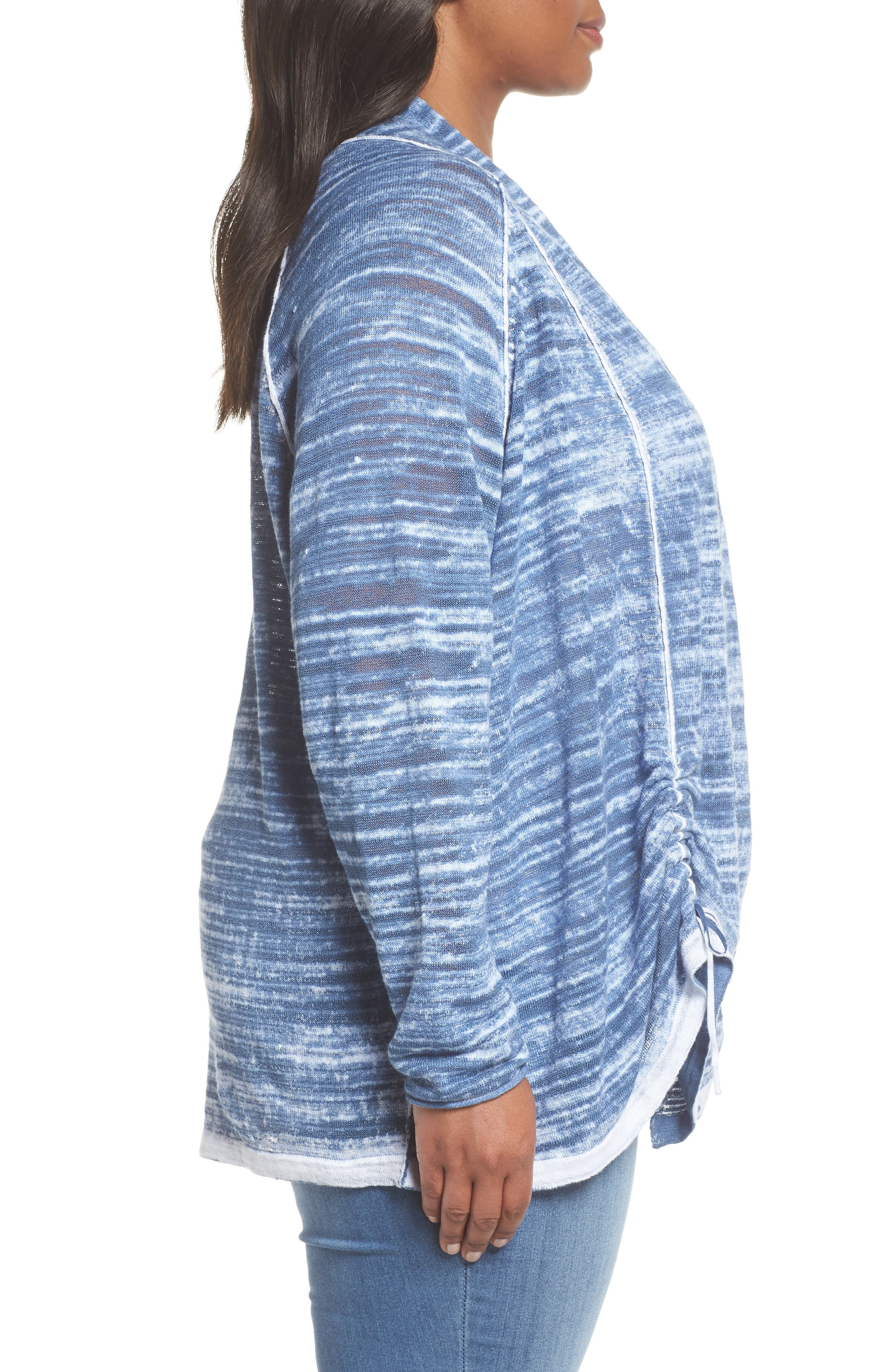 Sand Dune Ruched Sleeve Cardigan,                             Alternate thumbnail 3, color,                             MOSAIC BLUE