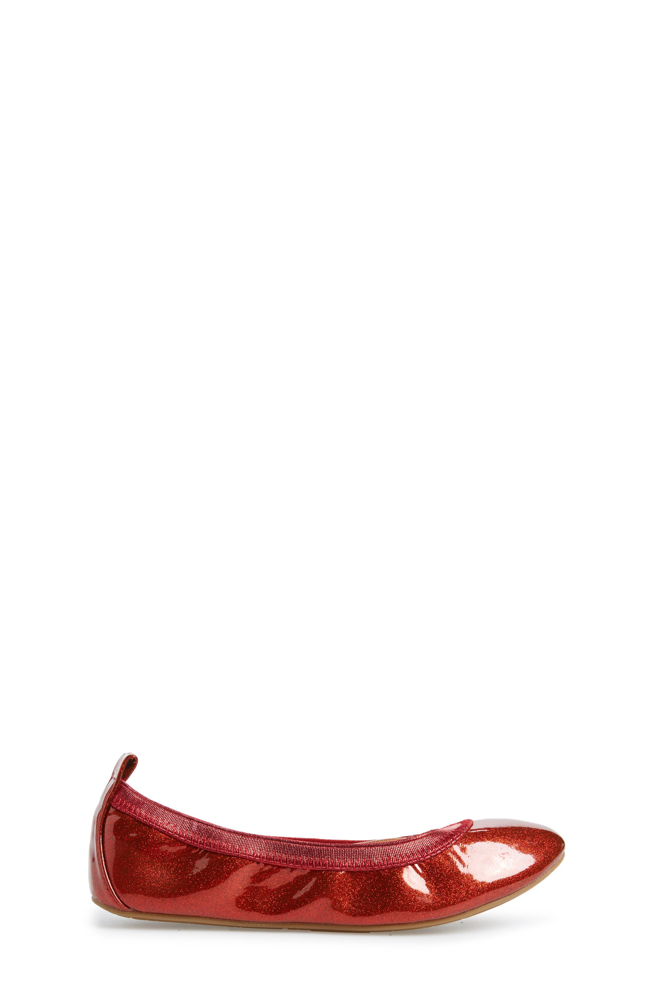 Miss Samara Ballet Flat,                             Alternate thumbnail 3, color,                             RED PATENT GLITTER