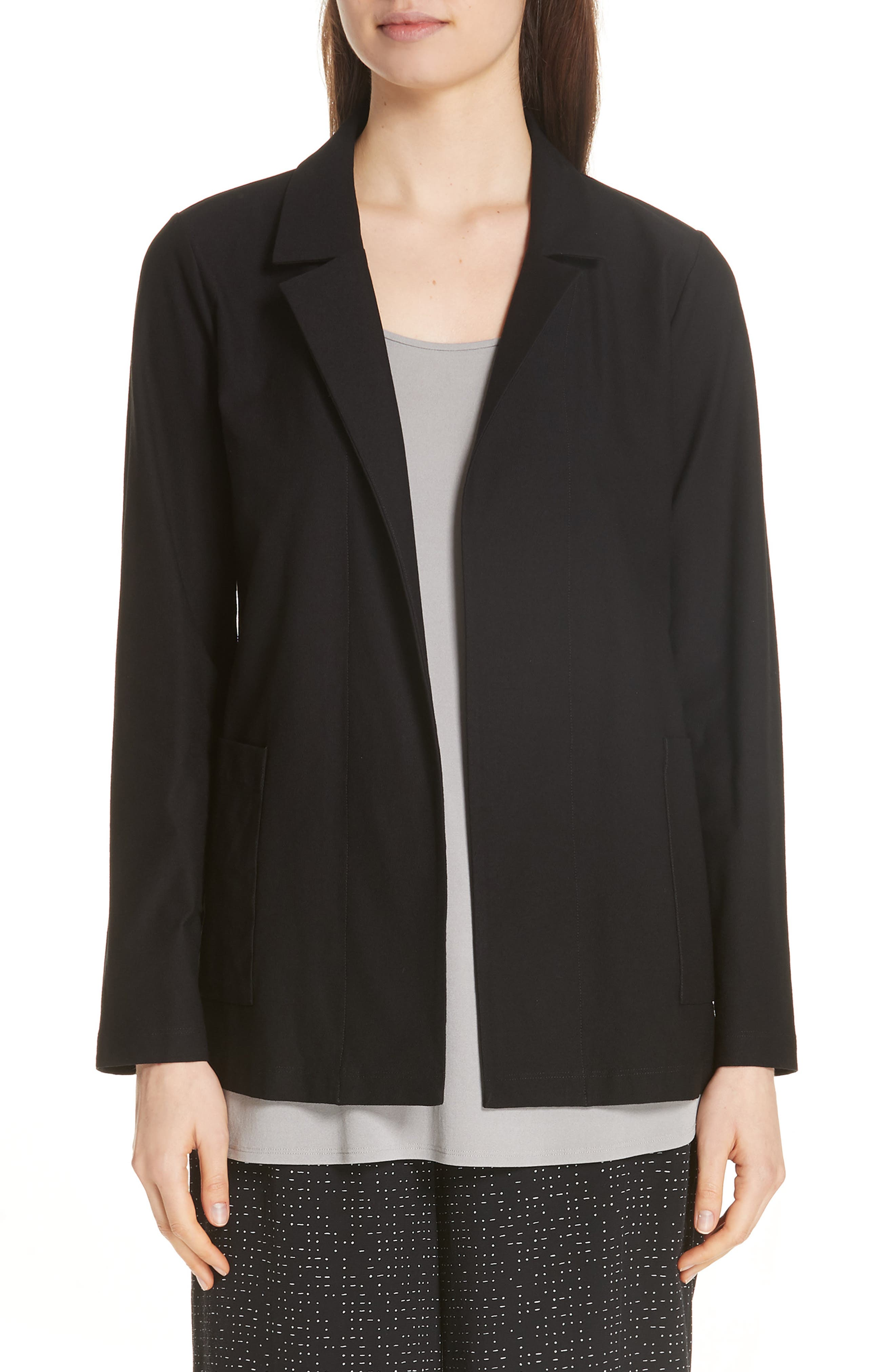 Classic Notch Collar Jacket,                             Main thumbnail 1, color,                             BLACK