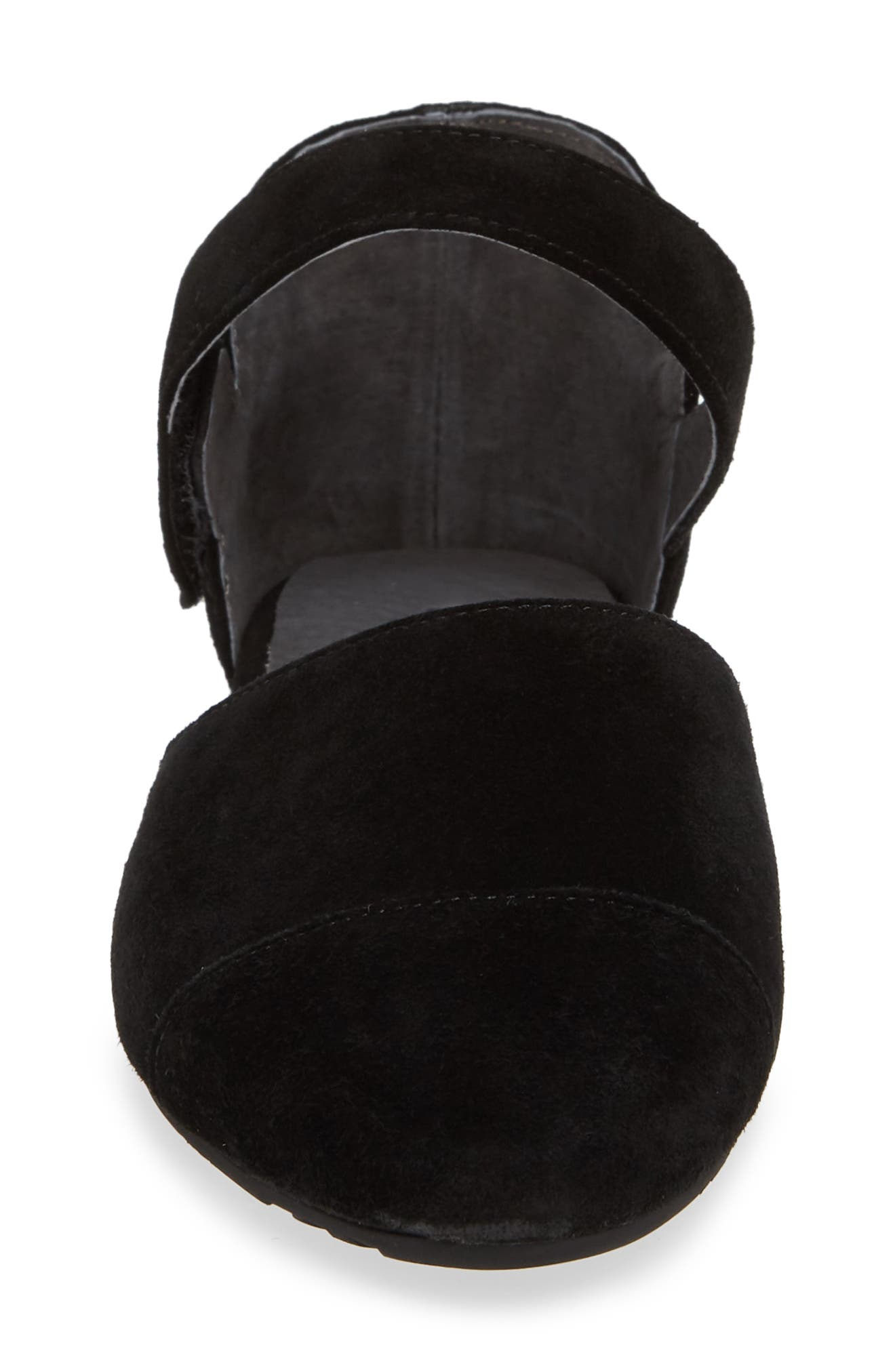 Gaia Pointy Toe Flat,                             Alternate thumbnail 4, color,                             BLACK SUEDE