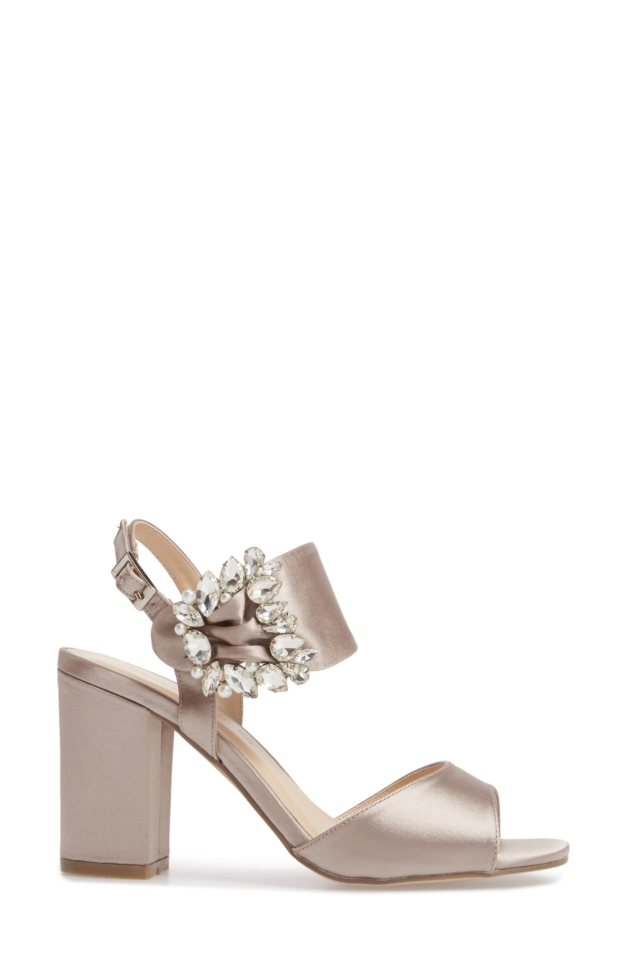 Manhattan Embellished Sandal,                             Alternate thumbnail 3, color,                             TAUPE SATIN
