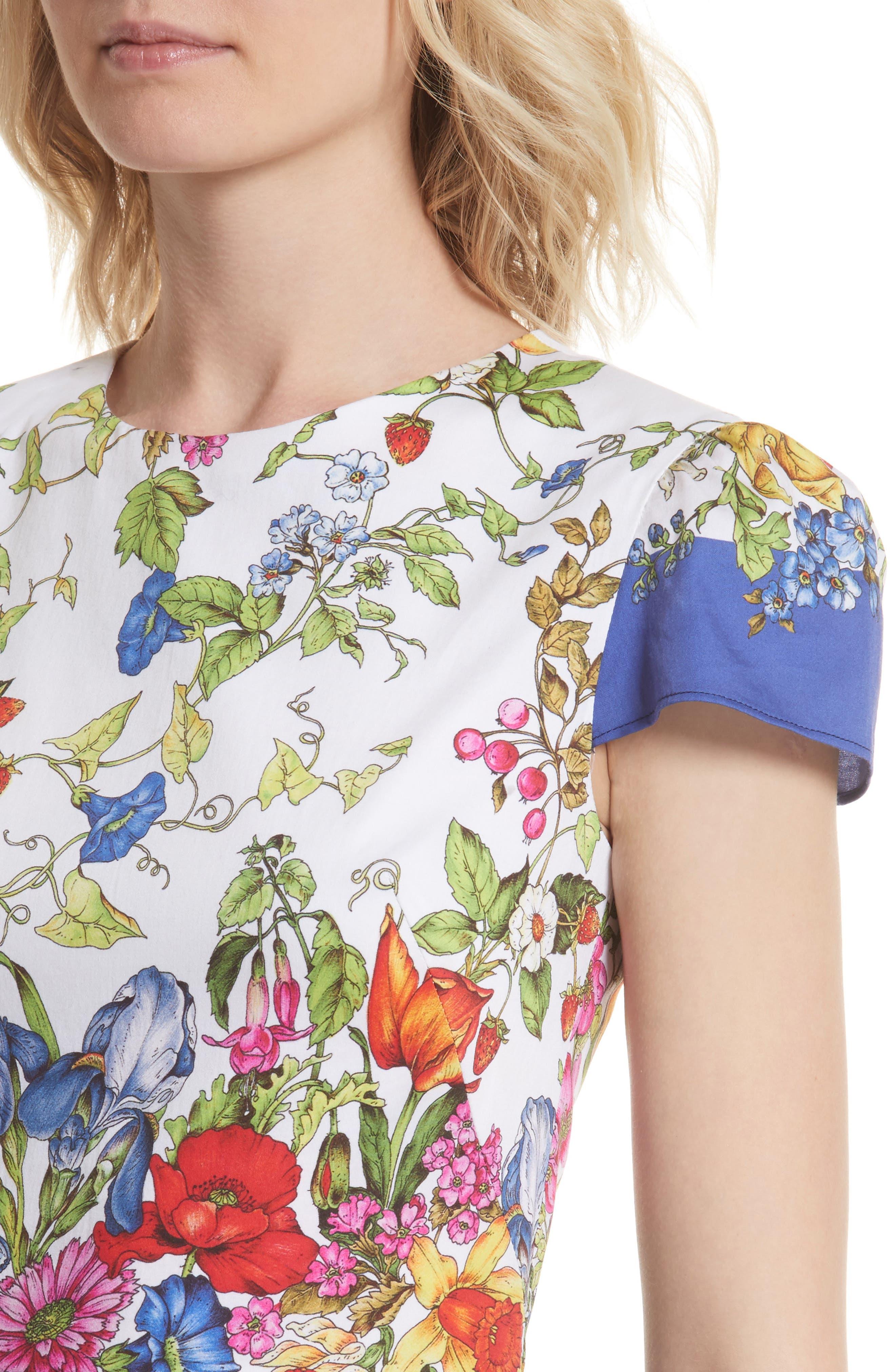 Karissa Floral Stretch Cotton Dress,                             Alternate thumbnail 4, color,                             164