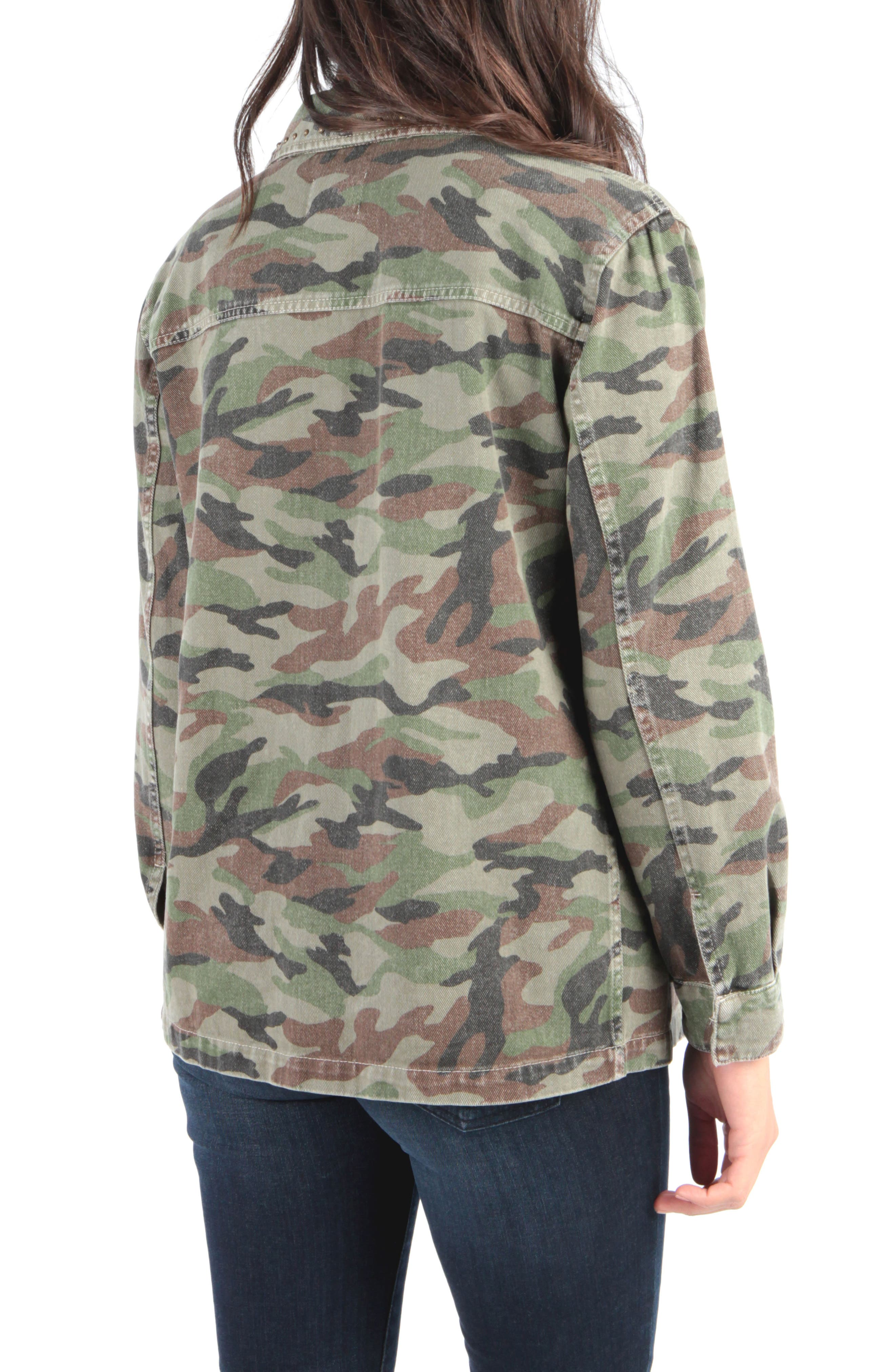 Claudia Camo Jacket,                             Alternate thumbnail 2, color,                             OLIVE