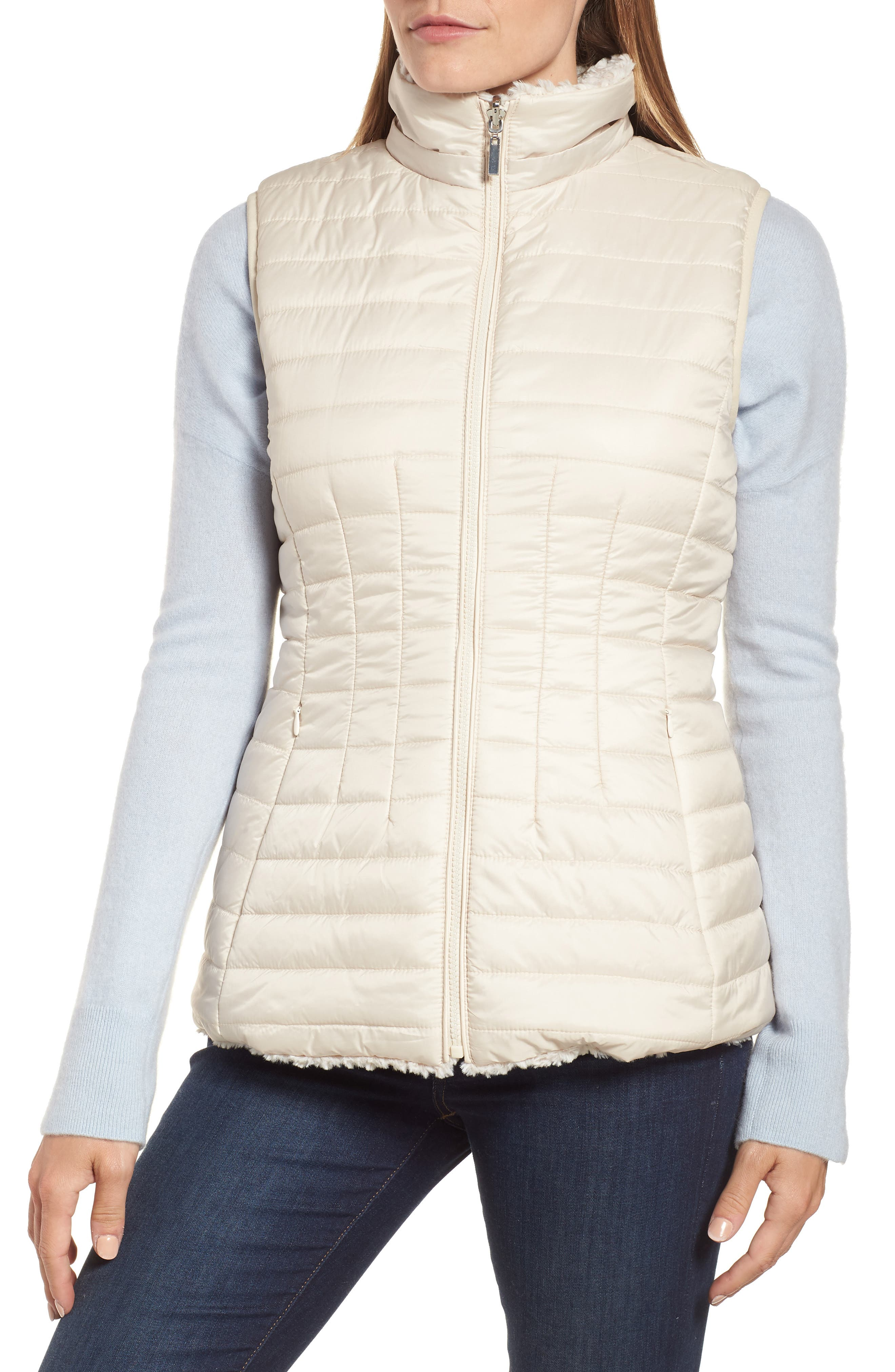 Faux Fur Reversible Hooded Vest,                             Alternate thumbnail 6, color,                             CUSTARD