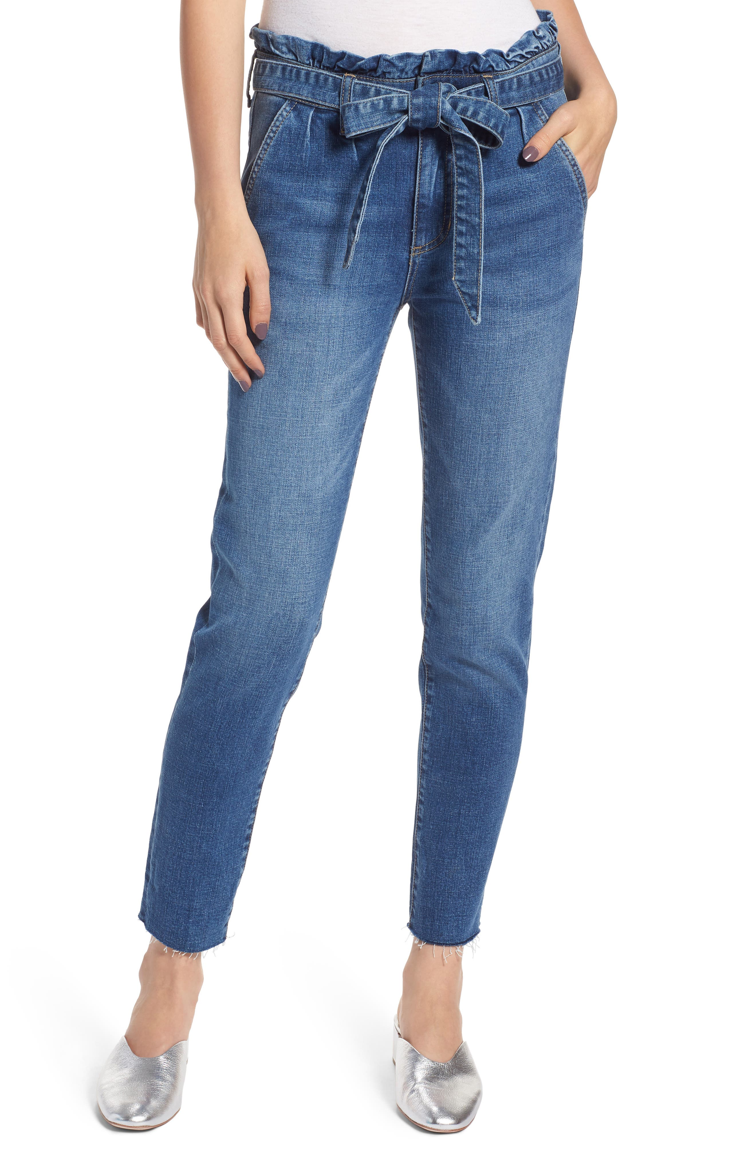 Paperbag Waist Skinny Jeans,                             Main thumbnail 1, color,                             PRETTY