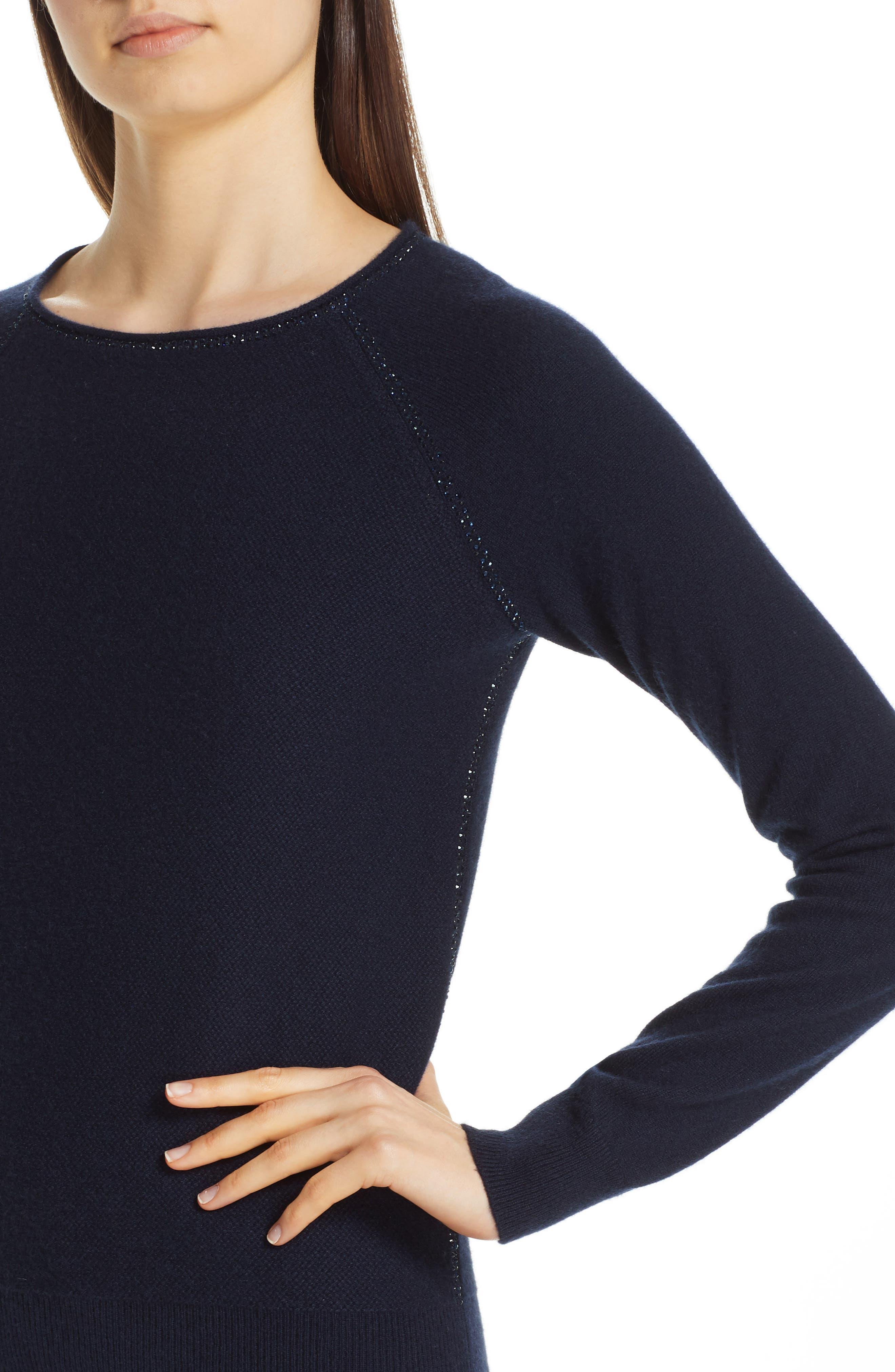 Cashmere Raglan Sweater,                             Alternate thumbnail 4, color,                             NAVY