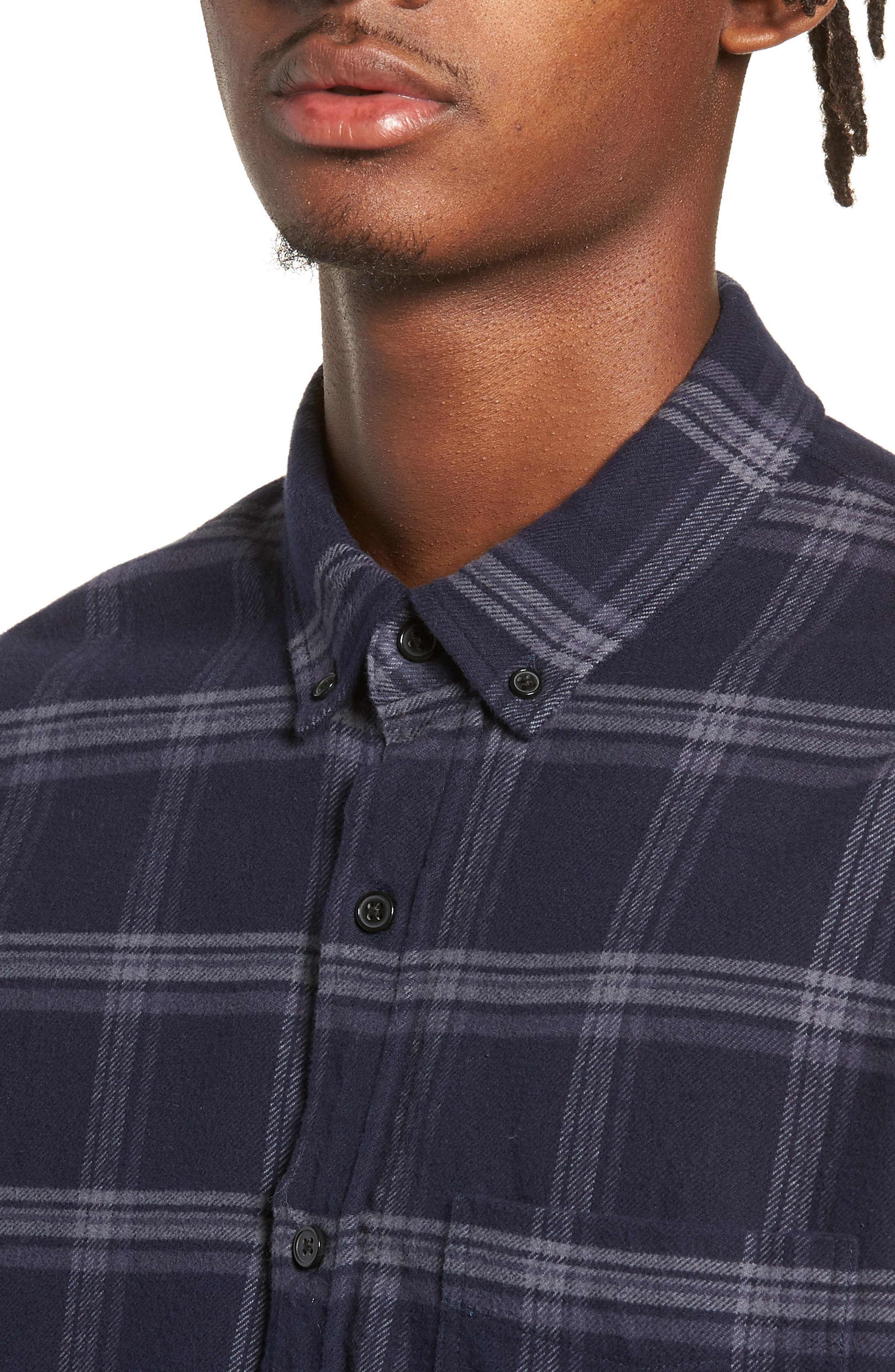 Forrest Slim Fit Plaid Flannel Sport Shirt,                             Alternate thumbnail 2, color,                             NAVY/HEATHERED CHARCOAL