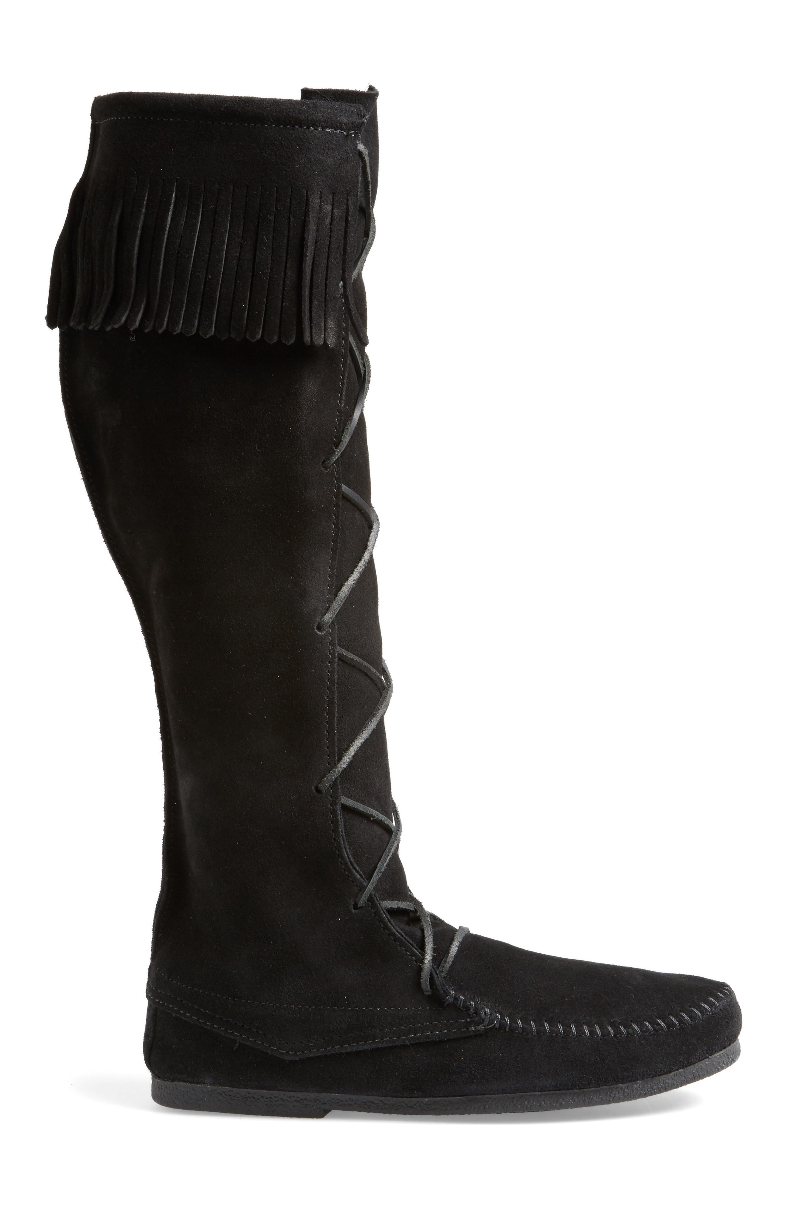 Knee High Moccasin Boot,                             Alternate thumbnail 3, color,                             BLACK SUEDE