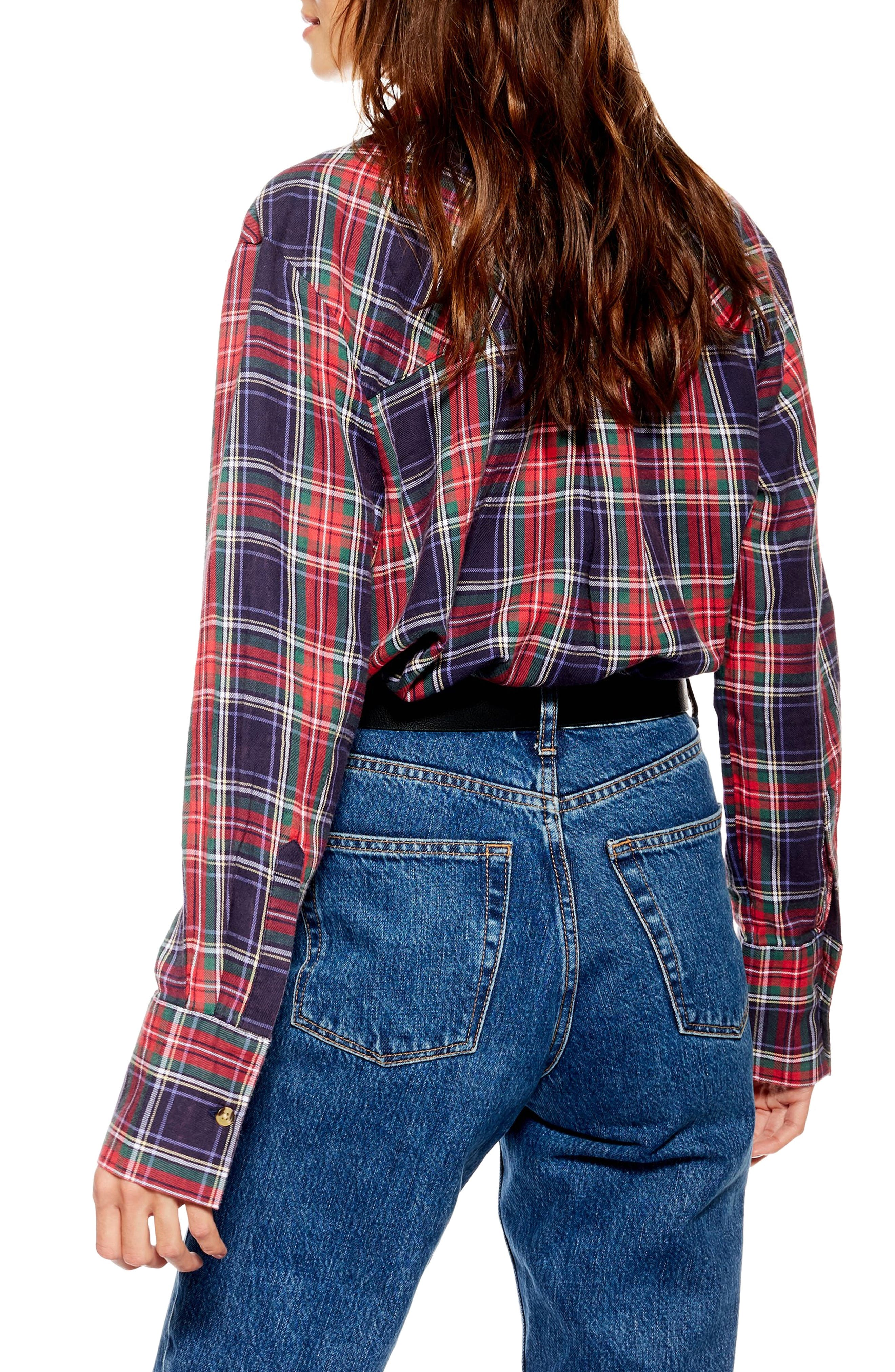 Pacey Washed Check Plaid Shirt,                             Alternate thumbnail 2, color,                             NAVY BLUE MULTI
