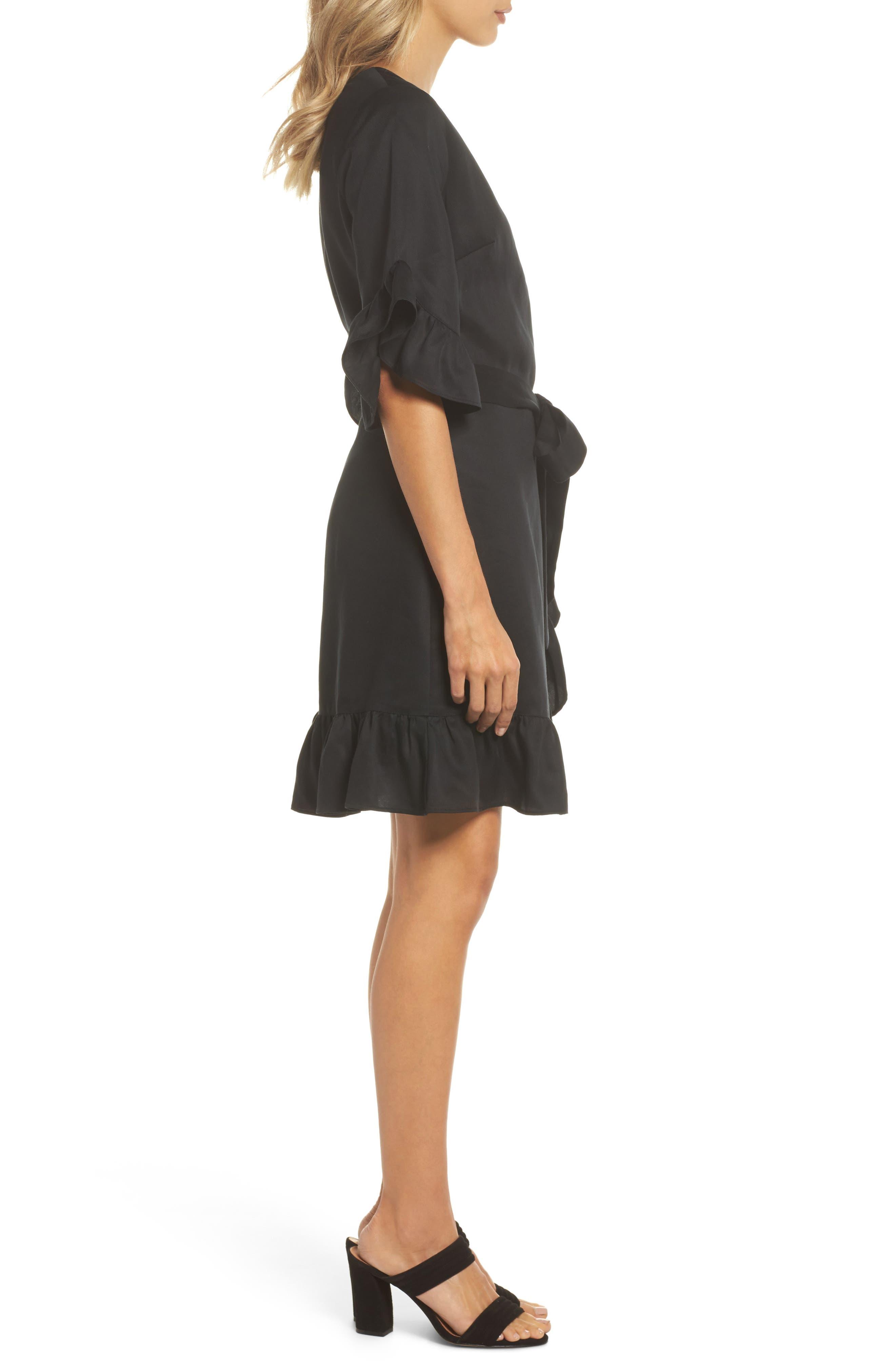 Ruffle Wrap Dress,                             Alternate thumbnail 3, color,                             001