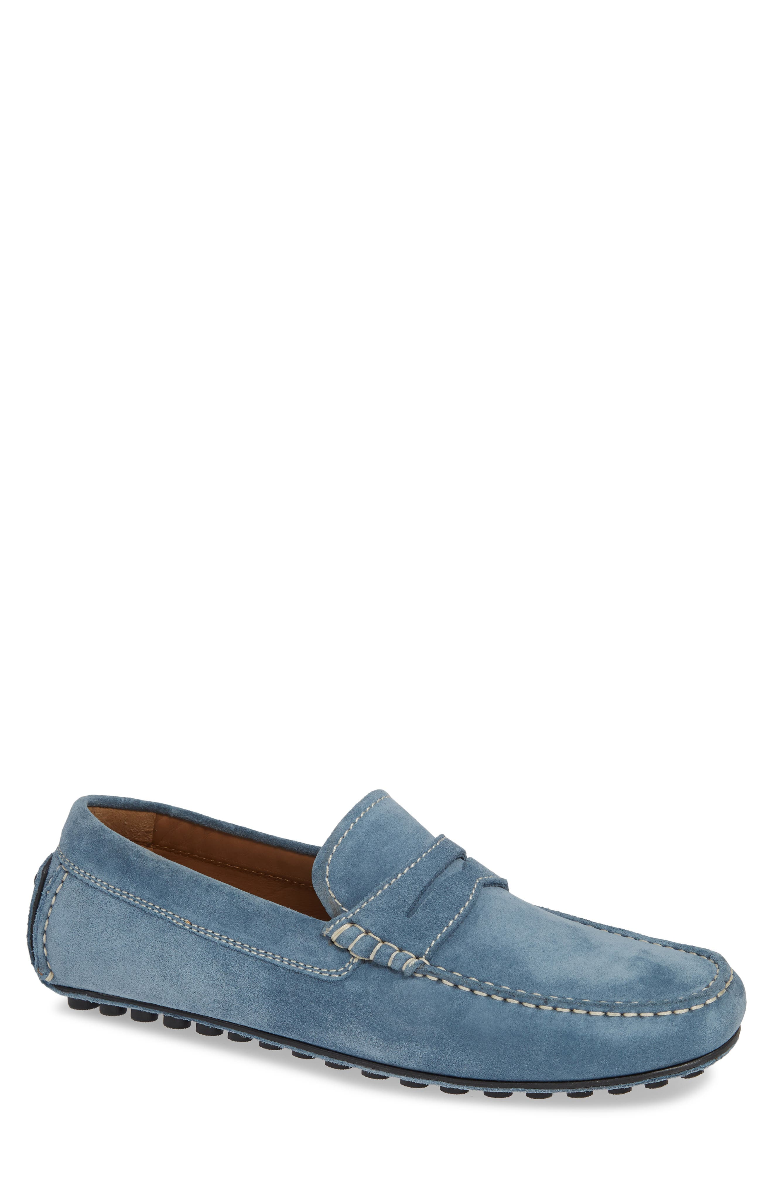 ROBERT TALBOTT Le Mans Penny Driving Loafer in Light Blue Suede