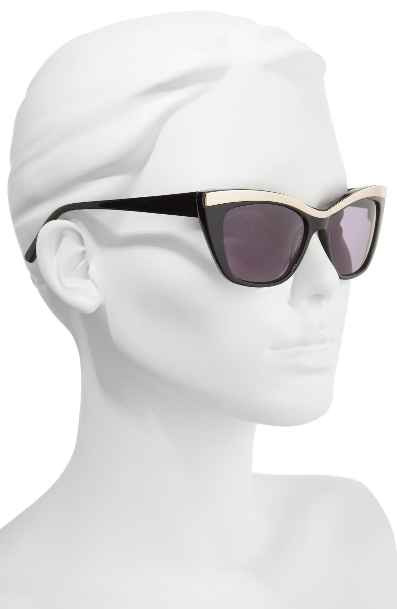 54mm Rectangle Cat Eye Sunglasses,                             Alternate thumbnail 2, color,                             001