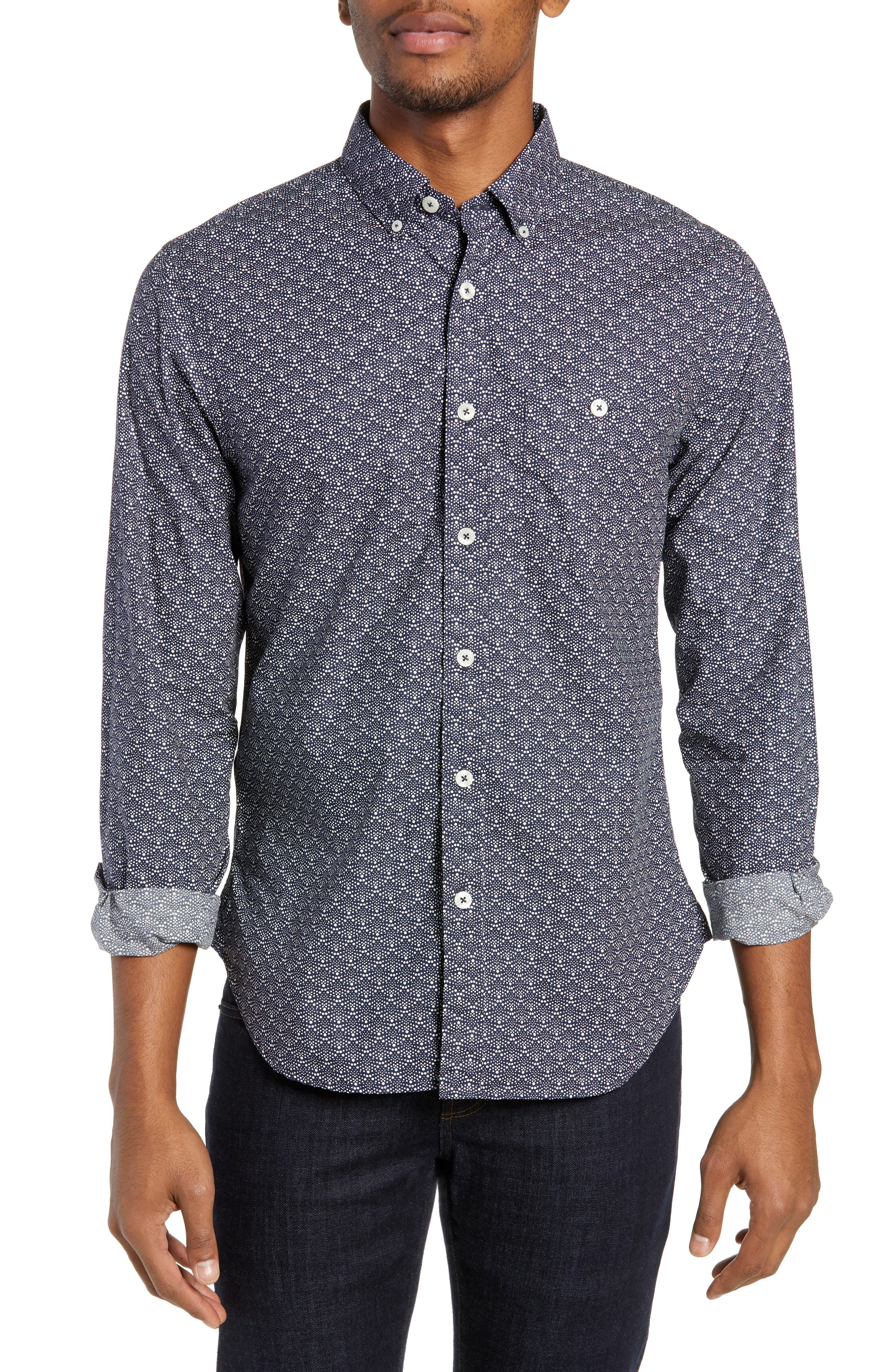 TODD SNYDER Liberty Patterned Regular Fit Sport Shirt in Navy