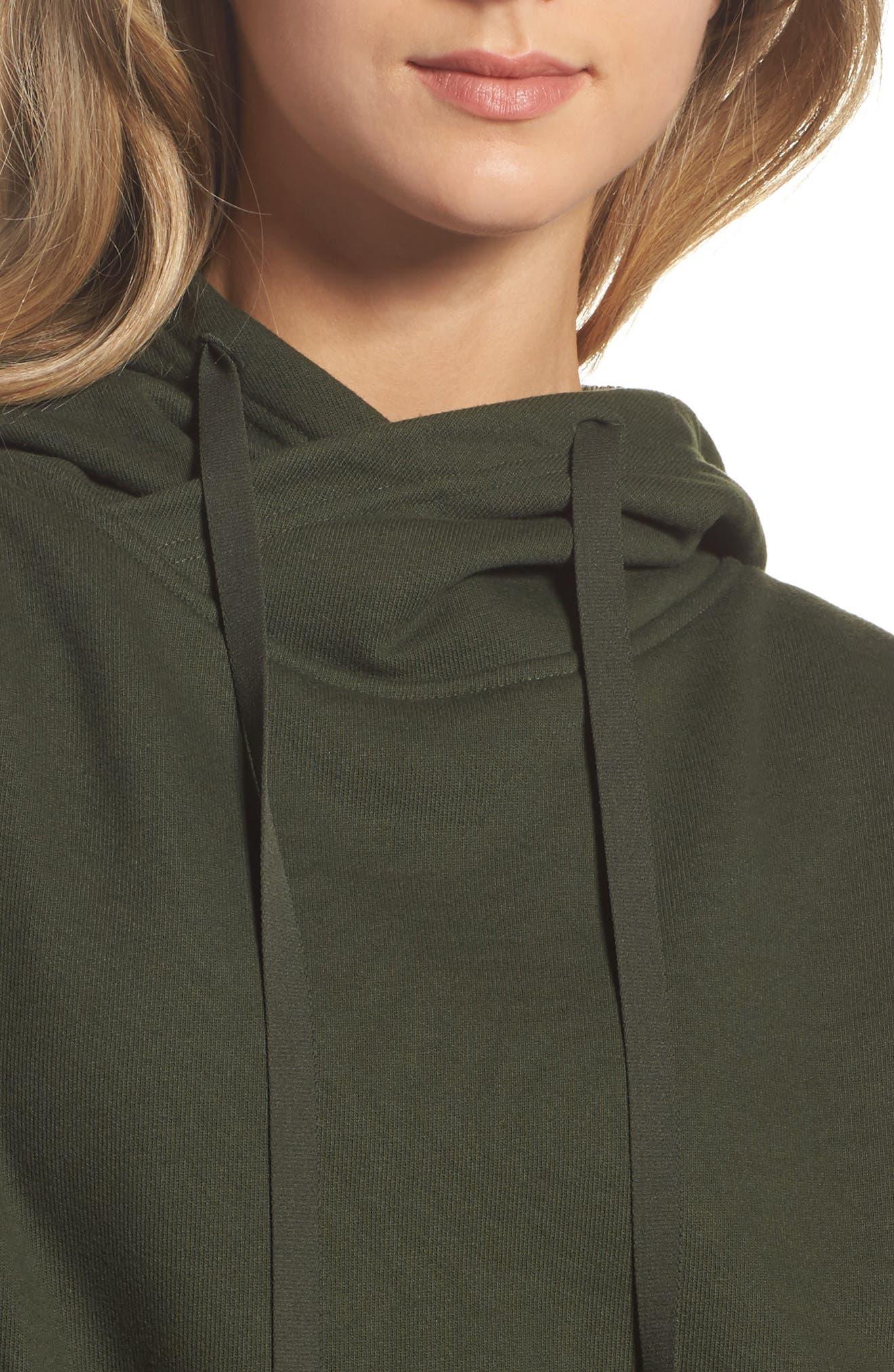 Peak Cutout Long Sleeve Pullover Crop Hoodie,                             Alternate thumbnail 13, color,