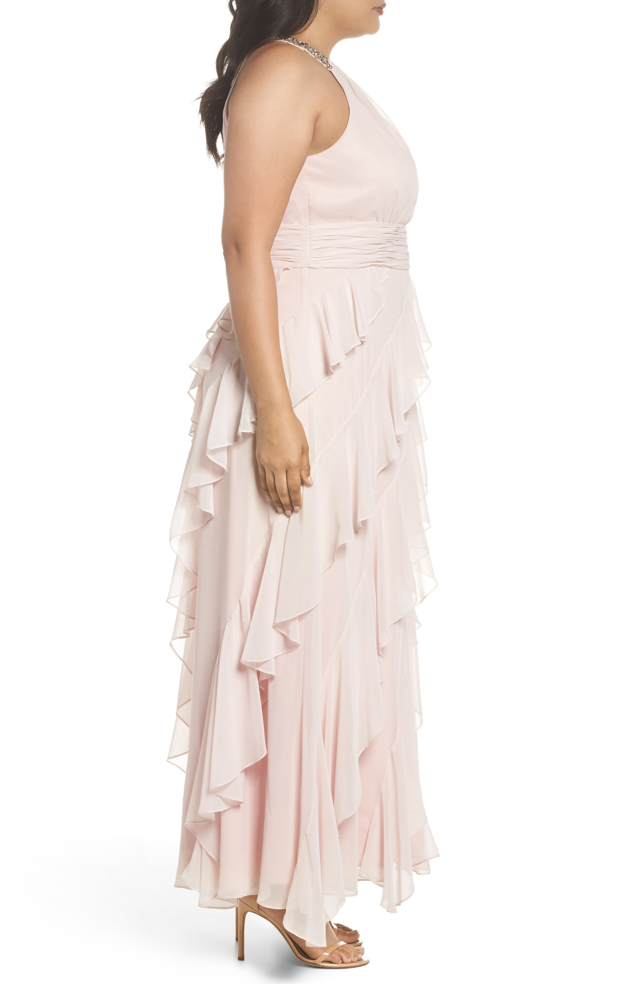 Embellished Ruffle Chiffon Gown,                             Alternate thumbnail 3, color,                             684