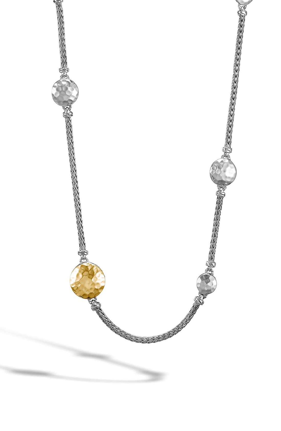 'Dot' Long Station Necklace,                             Main thumbnail 1, color,                             SILVER/ GOLD