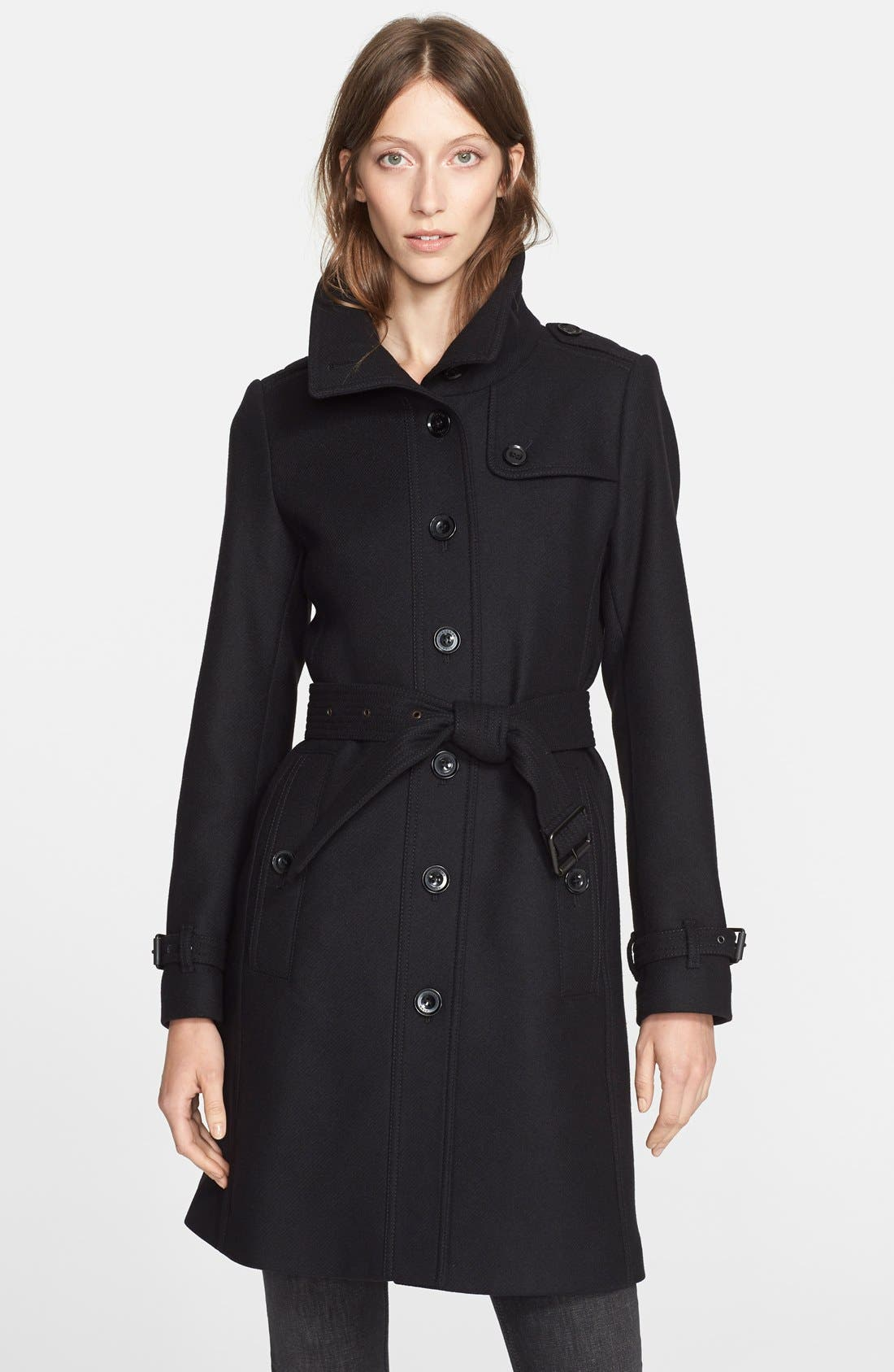 'Rushfield' Wool Blend Single Breasted Coat,                             Main thumbnail 1, color,                             001