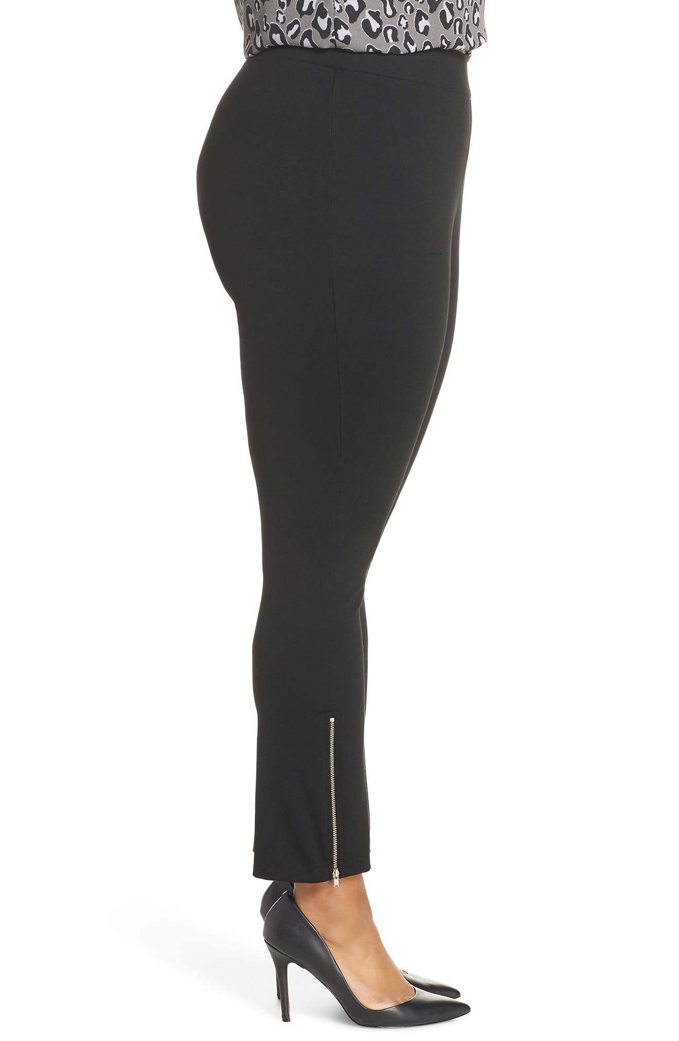 Zipper Hem Ponte Leggings,                             Alternate thumbnail 3, color,                             BLACK