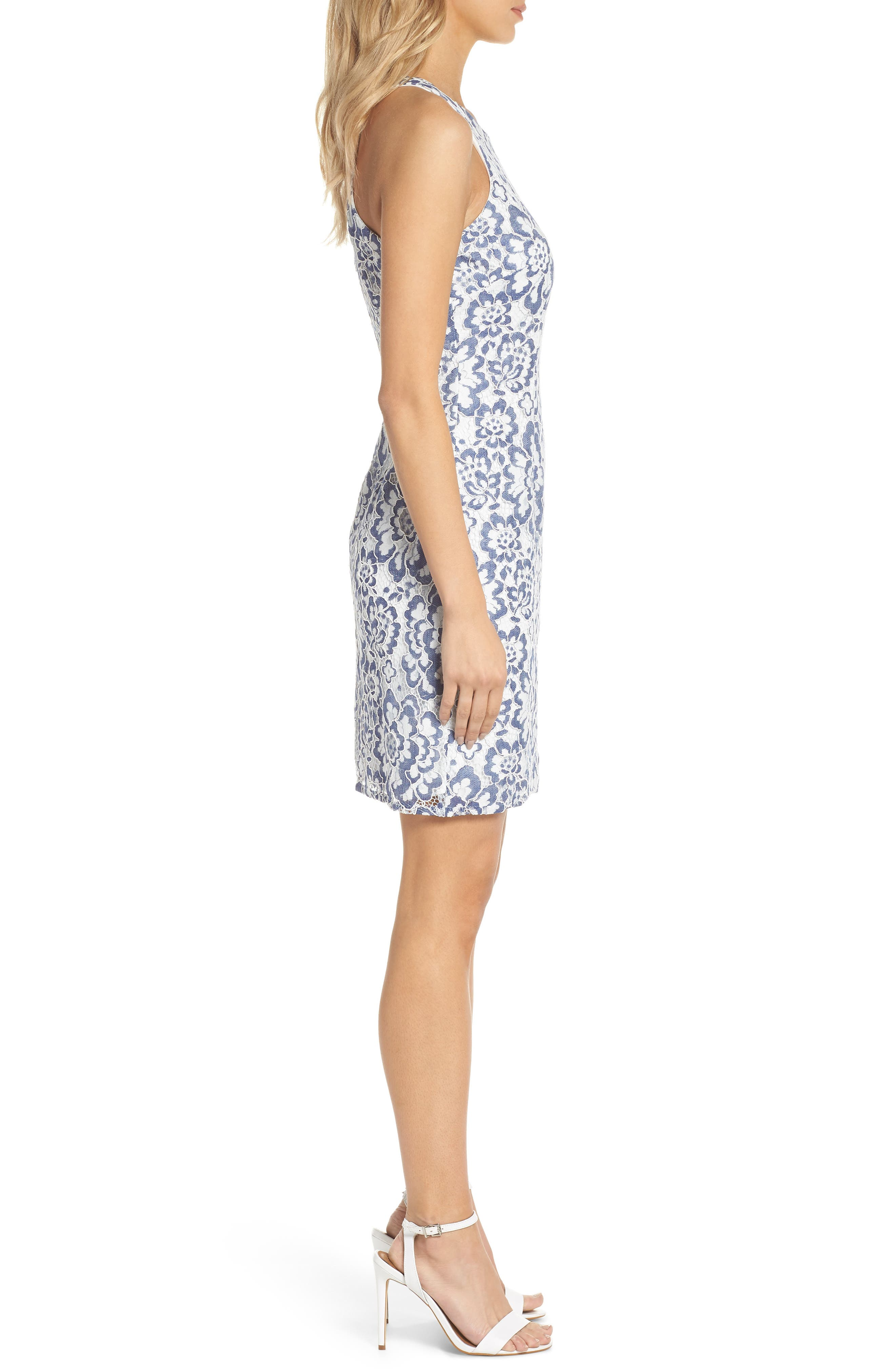 ADRIANNA PAPELL,                             Elisa Two Tone Lace Sheath Dress,                             Alternate thumbnail 3, color,                             481