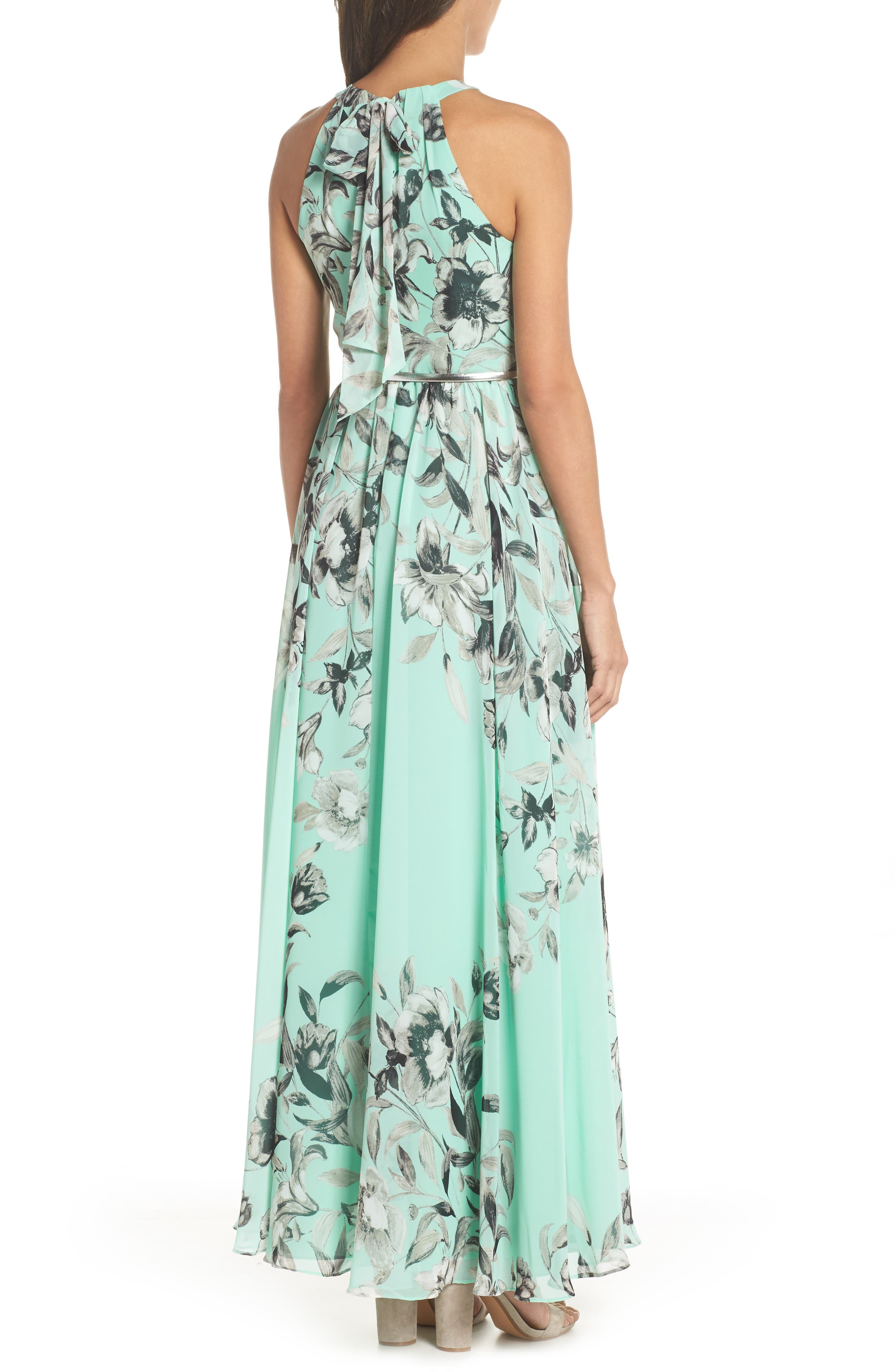 Belted Chiffon Maxi Dress,                             Alternate thumbnail 2, color,                             MINT