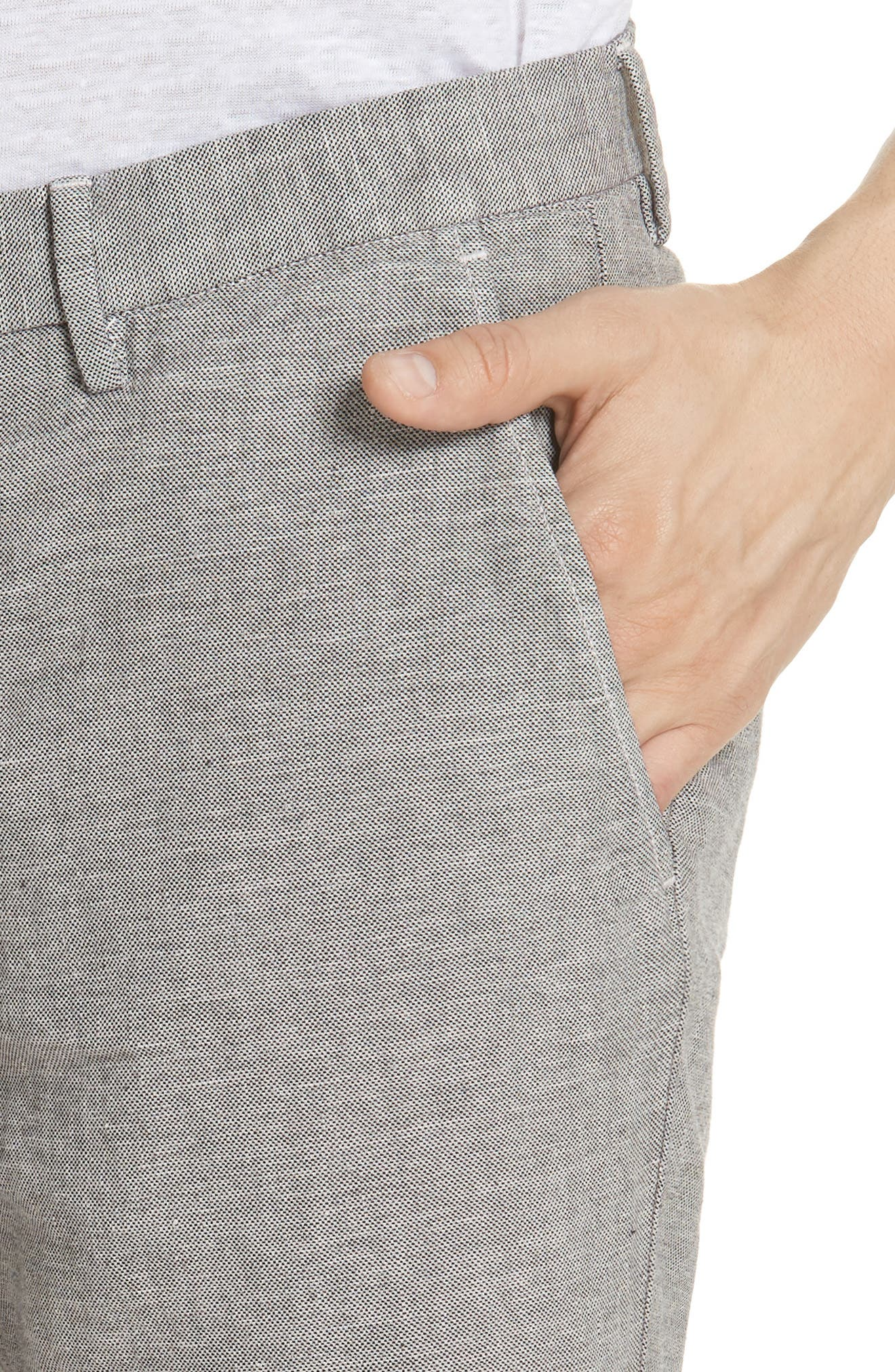 Panama Linen & Cotton Chino Shorts,                             Alternate thumbnail 4, color,                             LIMESTONE