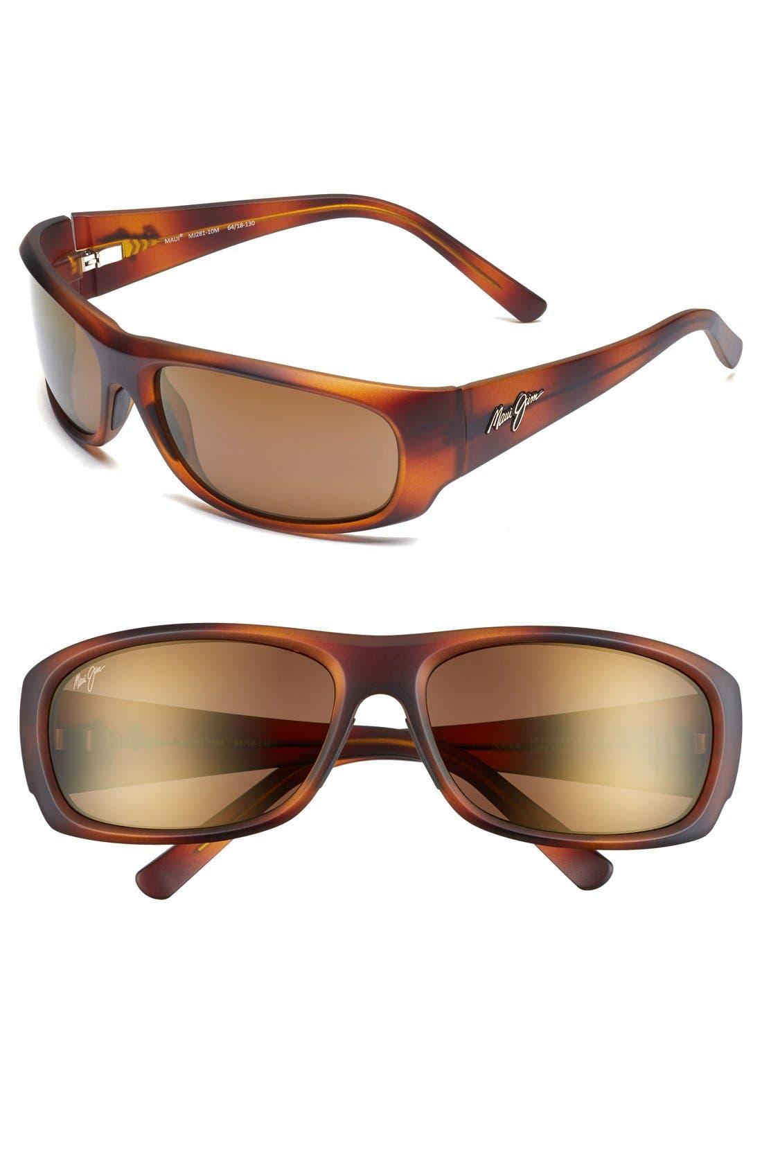 'Ikaika - PolarizedPlus<sup>®</sup>2' 64mm Sunglasses,                         Main,                         color, MATTE TORTOISE/ HCL BRONZE