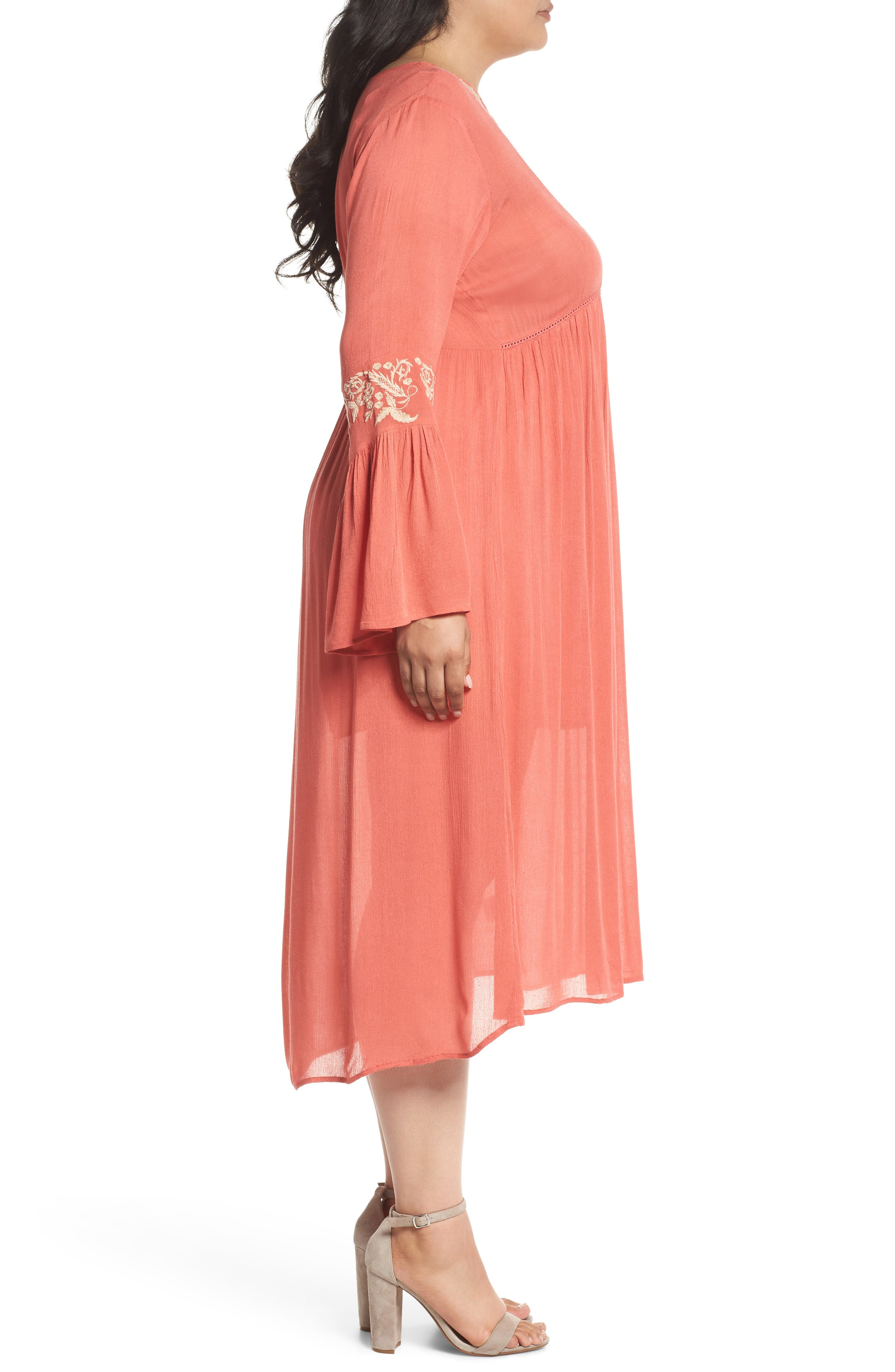 Embroidered Bell Sleeve Midi Dress,                             Alternate thumbnail 3, color,                             950
