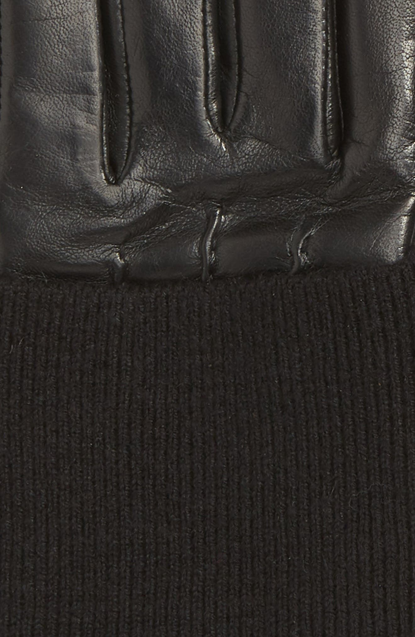 Knit Cuff Lambskin Leather Gloves,                             Alternate thumbnail 2, color,                             001