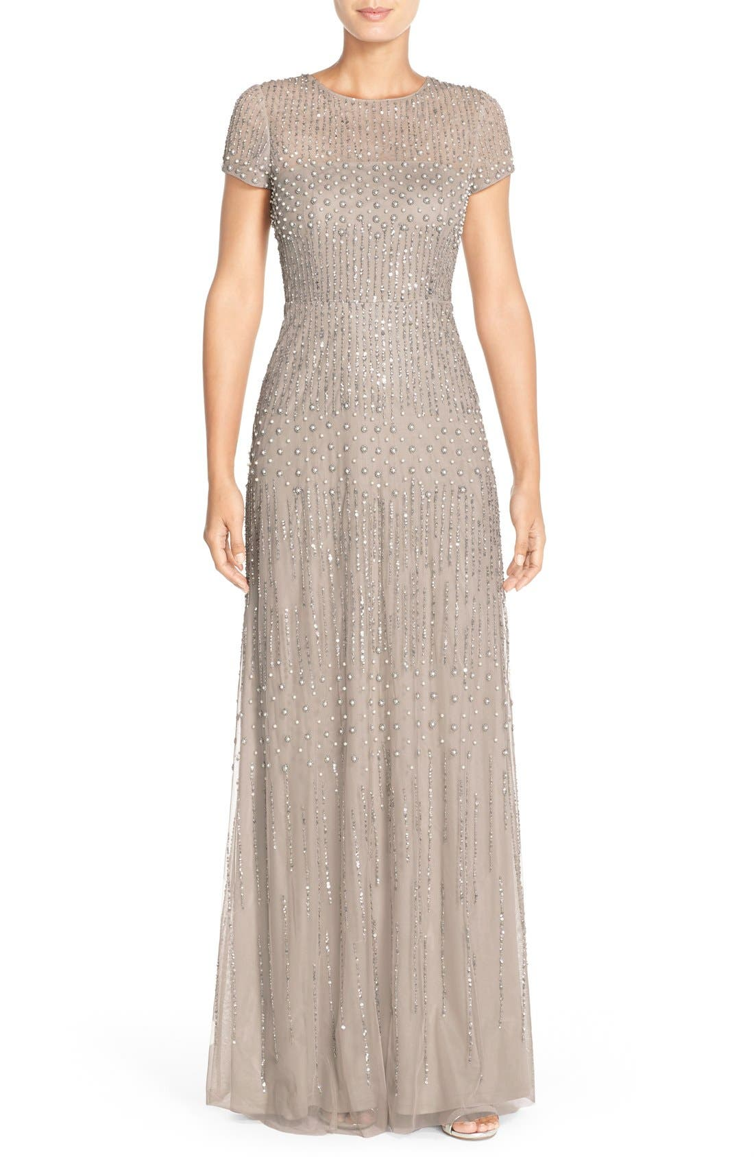 Embellished Mesh Gown,                         Main,                         color, 220