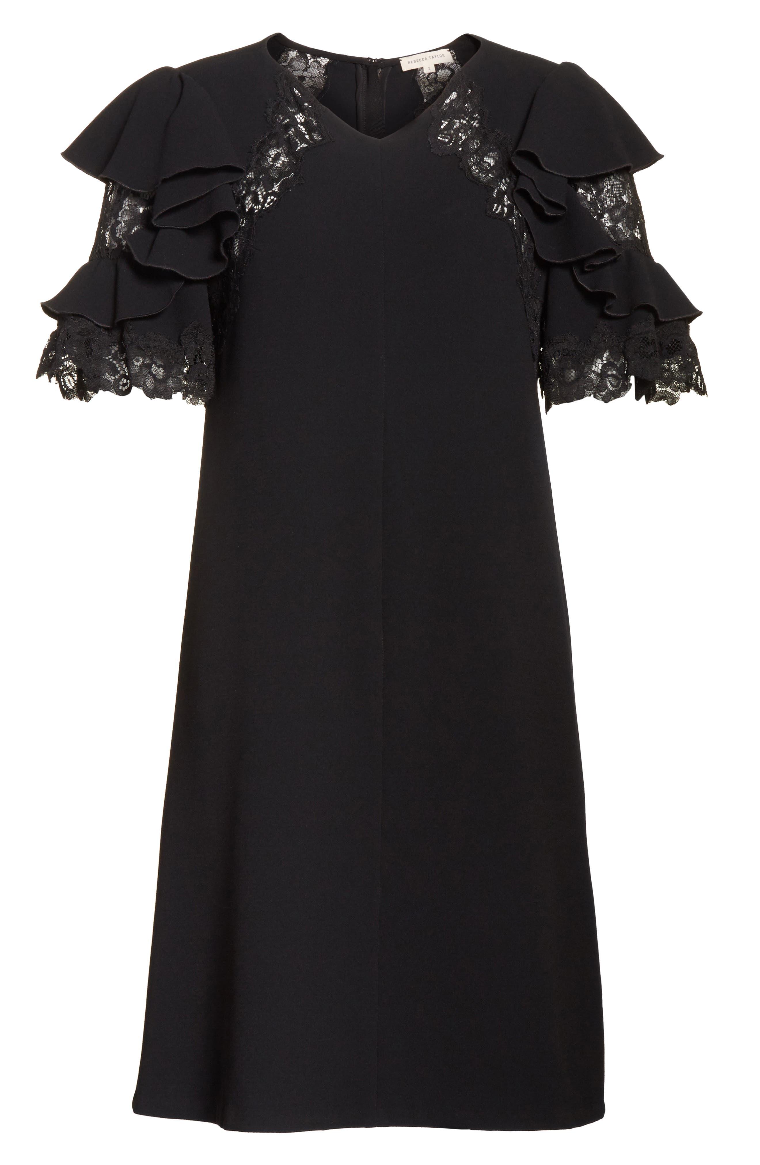 Ruffle Sleeve Lace Sheath Dress,                             Alternate thumbnail 6, color,