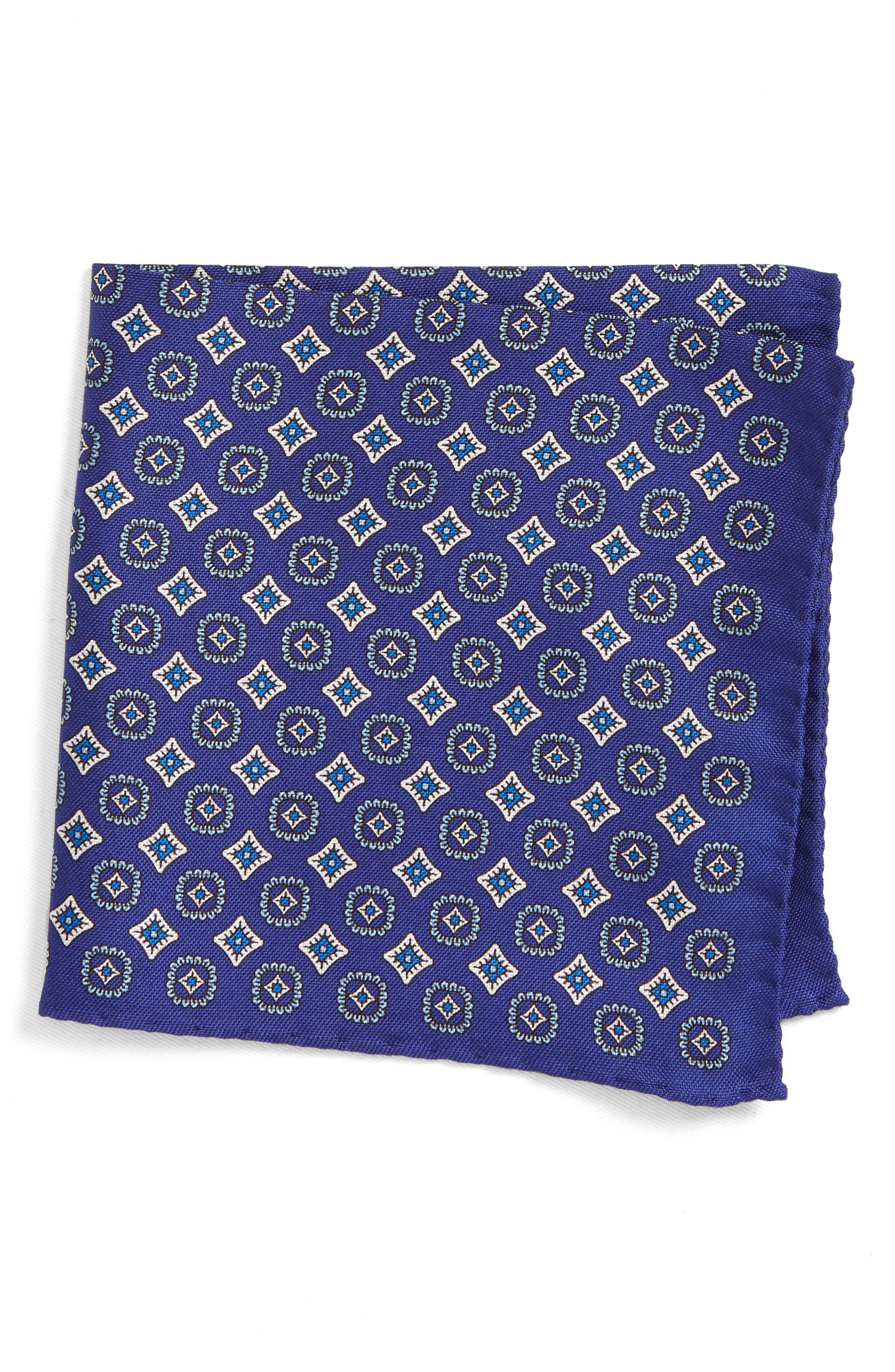 Medallion Silk Pocket Square,                         Main,                         color,