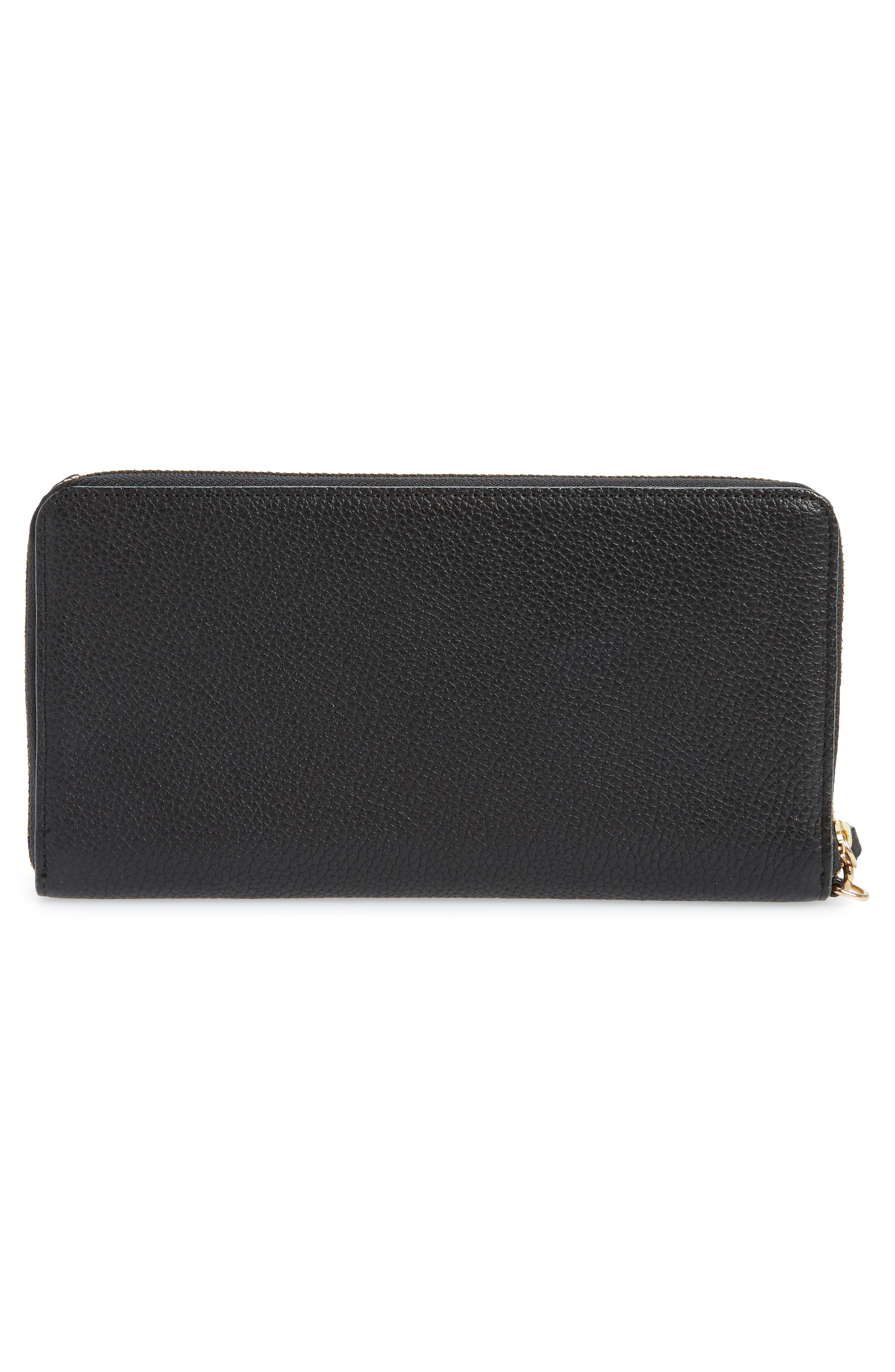 Zip Around Leather Continental Wallet,                             Alternate thumbnail 3, color,                             BLACK