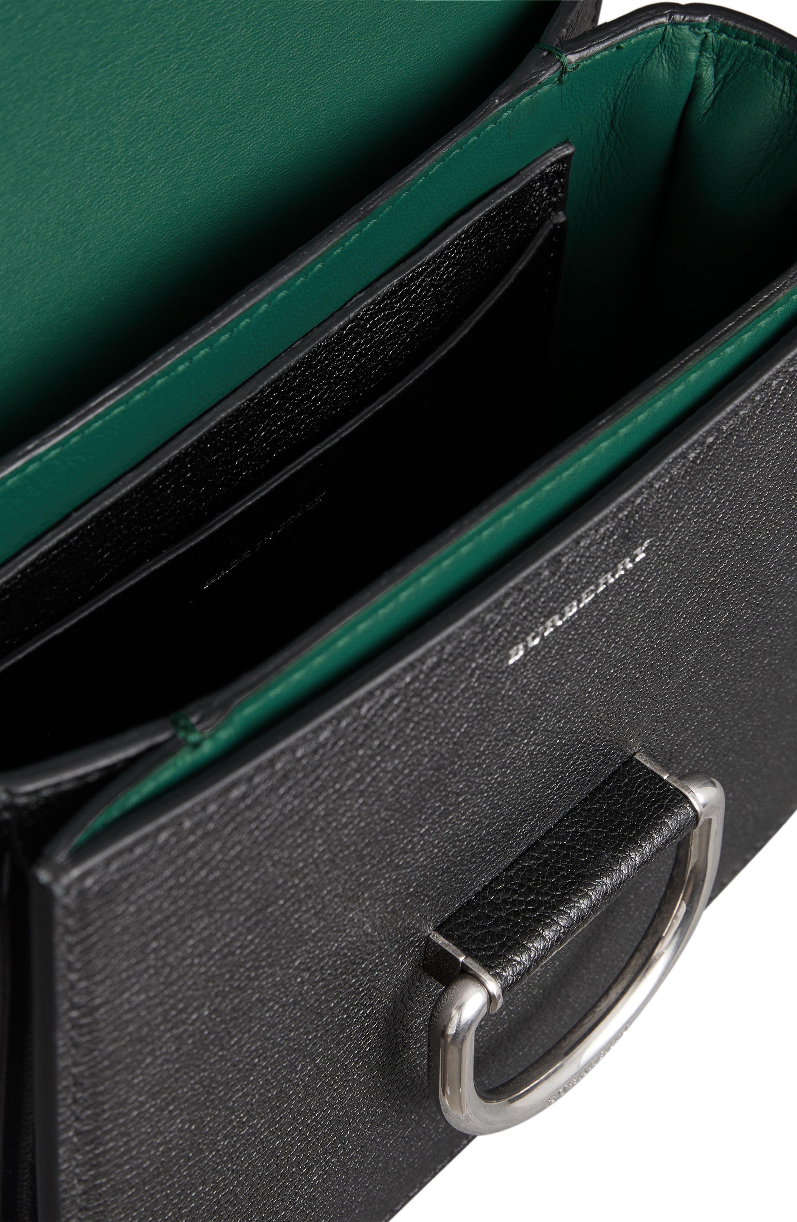 Small D-Ring Leather Crossbody Bag,                             Alternate thumbnail 4, color,                             BLACK