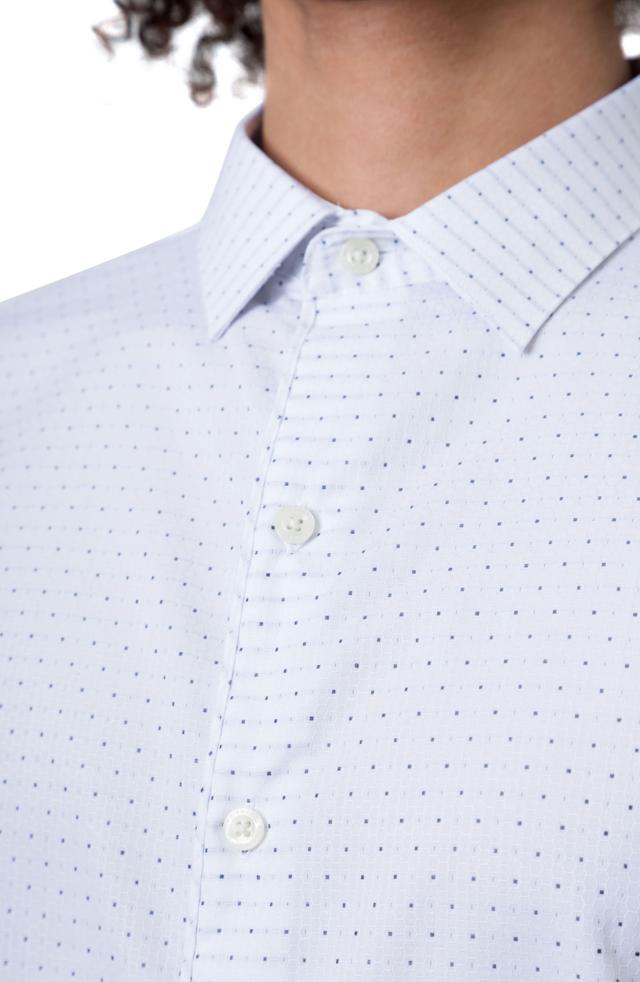 Echos Microprint Sport Shirt,                             Alternate thumbnail 3, color,                             100