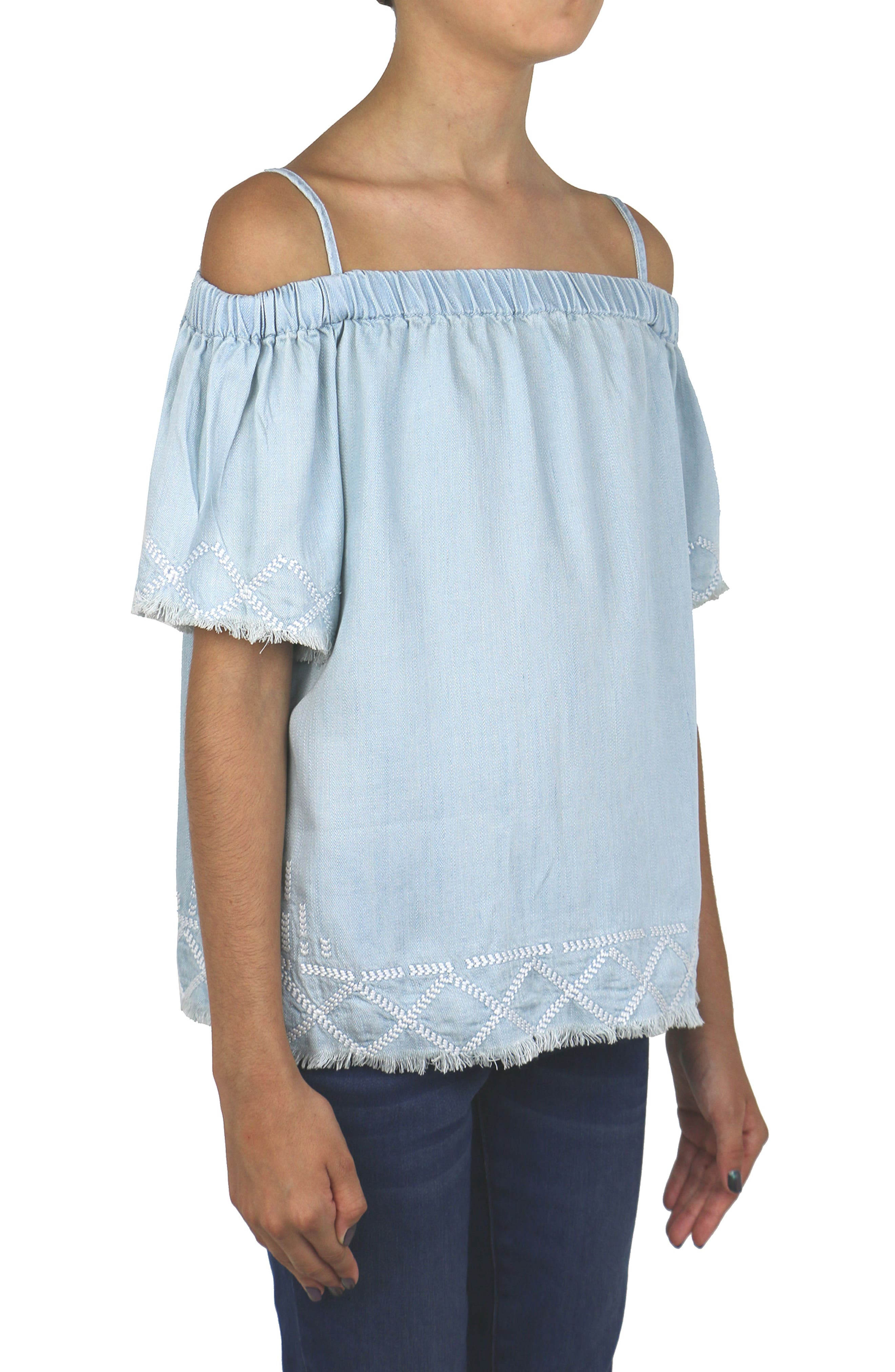 Embroidered Peasant Top,                             Alternate thumbnail 3, color,                             461