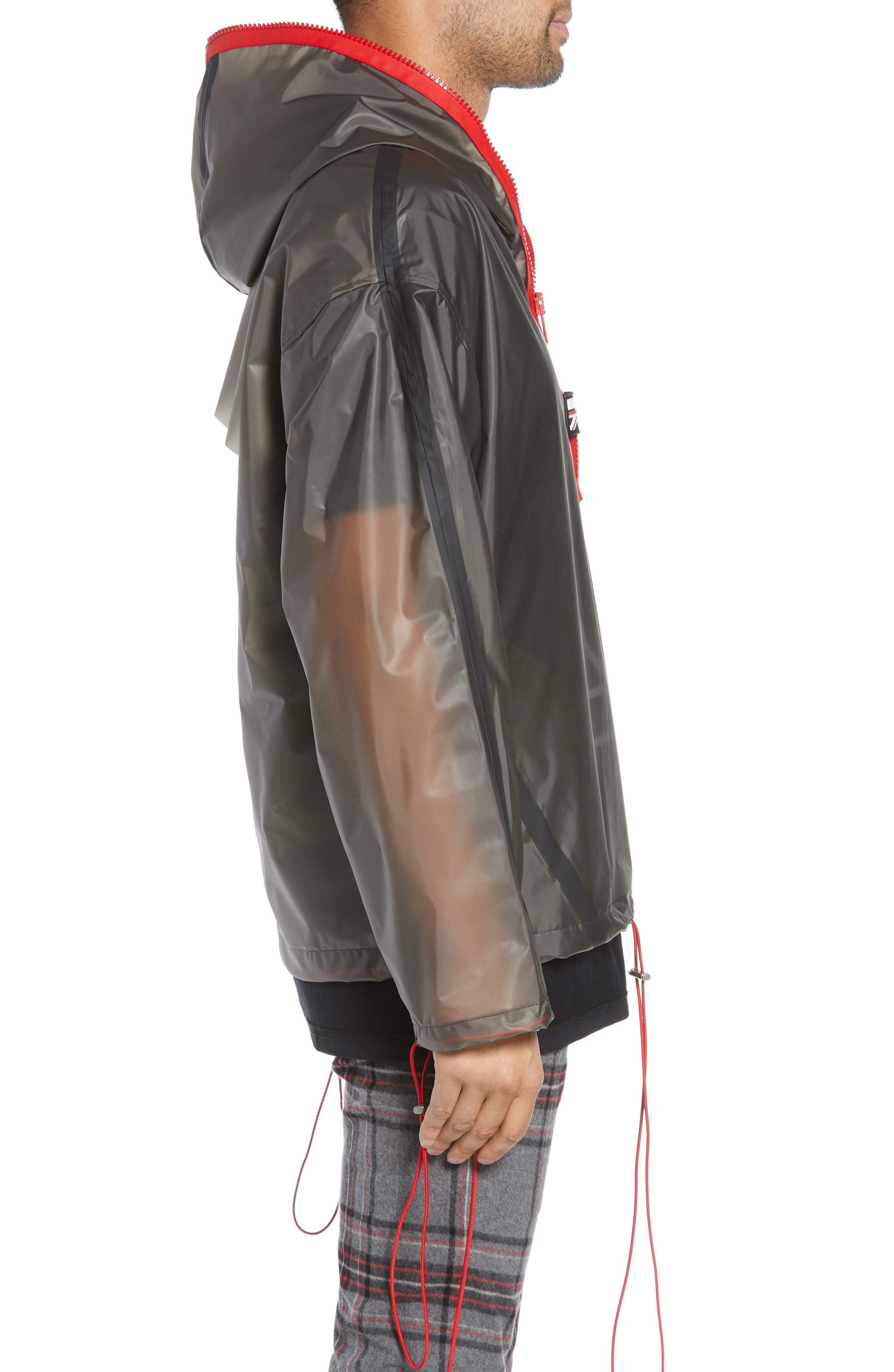 Rubber Half Zip Rain Jacket,                             Alternate thumbnail 3, color,                             BLACK