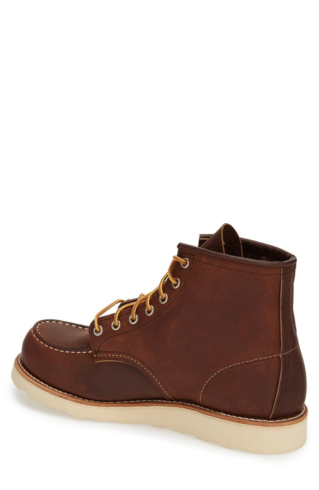 RED WING,                             6 Inch Moc Toe Boot,                             Alternate thumbnail 2, color,                             BOURBON YUMA LEATHER