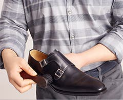 Play video about how to clean and polish leather shoes.