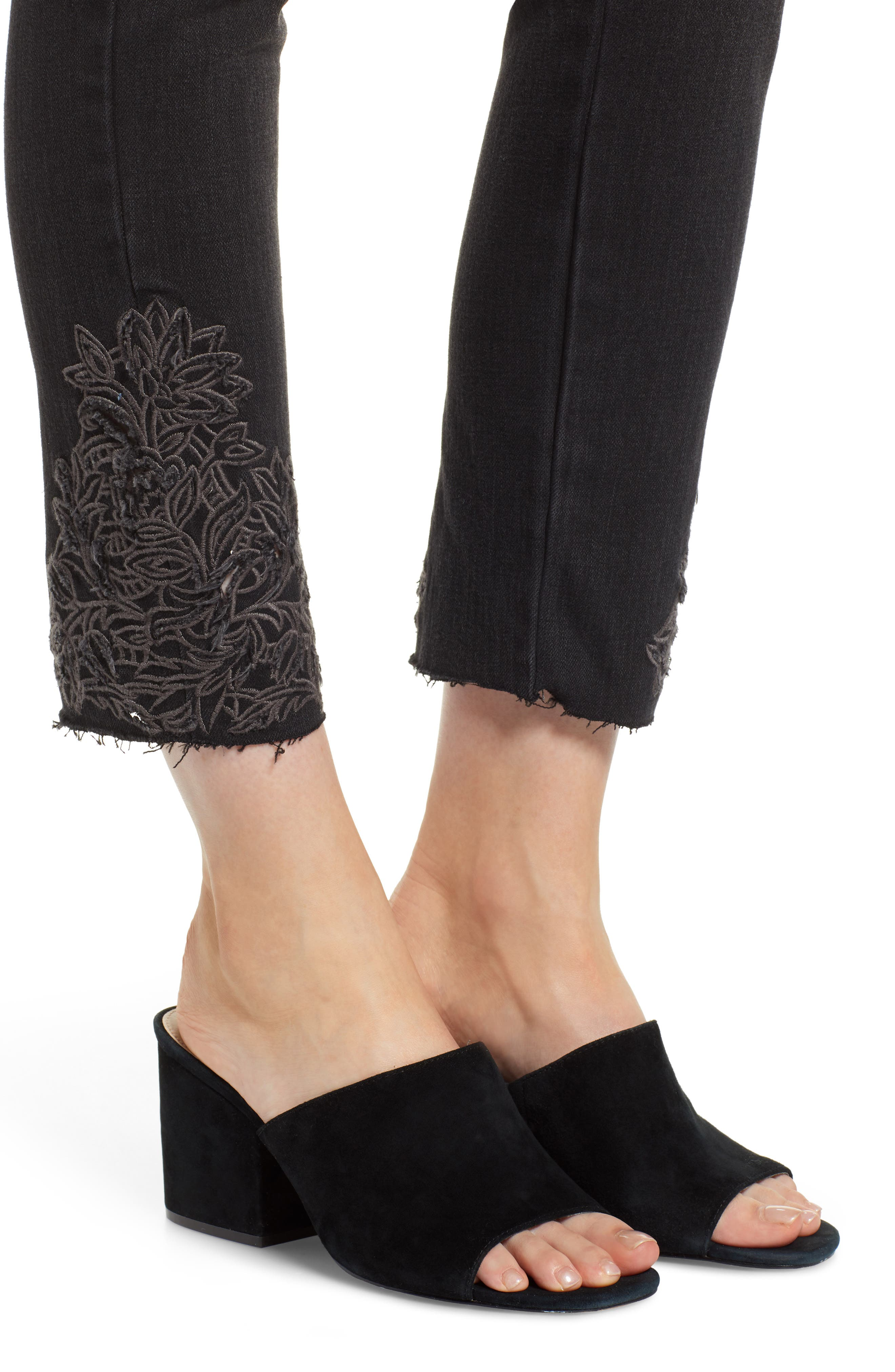 Embroidered High Rise Ankle Skimmer Jeans,                             Alternate thumbnail 4, color,                             001